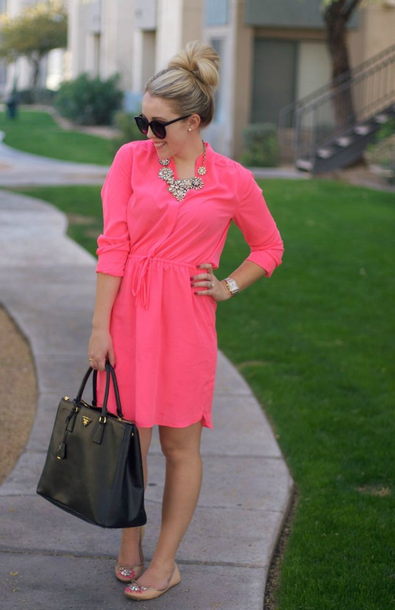 light-hot-pink-shirtdress | How to Wear a Shirt Dress featured by popular Ohio modest fashion blogger, Dreaming Loud