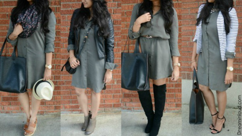 4-ways-to-style-your-shirt-dress-for-fall | How to Wear a Shirt Dress featured by popular Ohio modest fashion blogger, Dreaming Loud