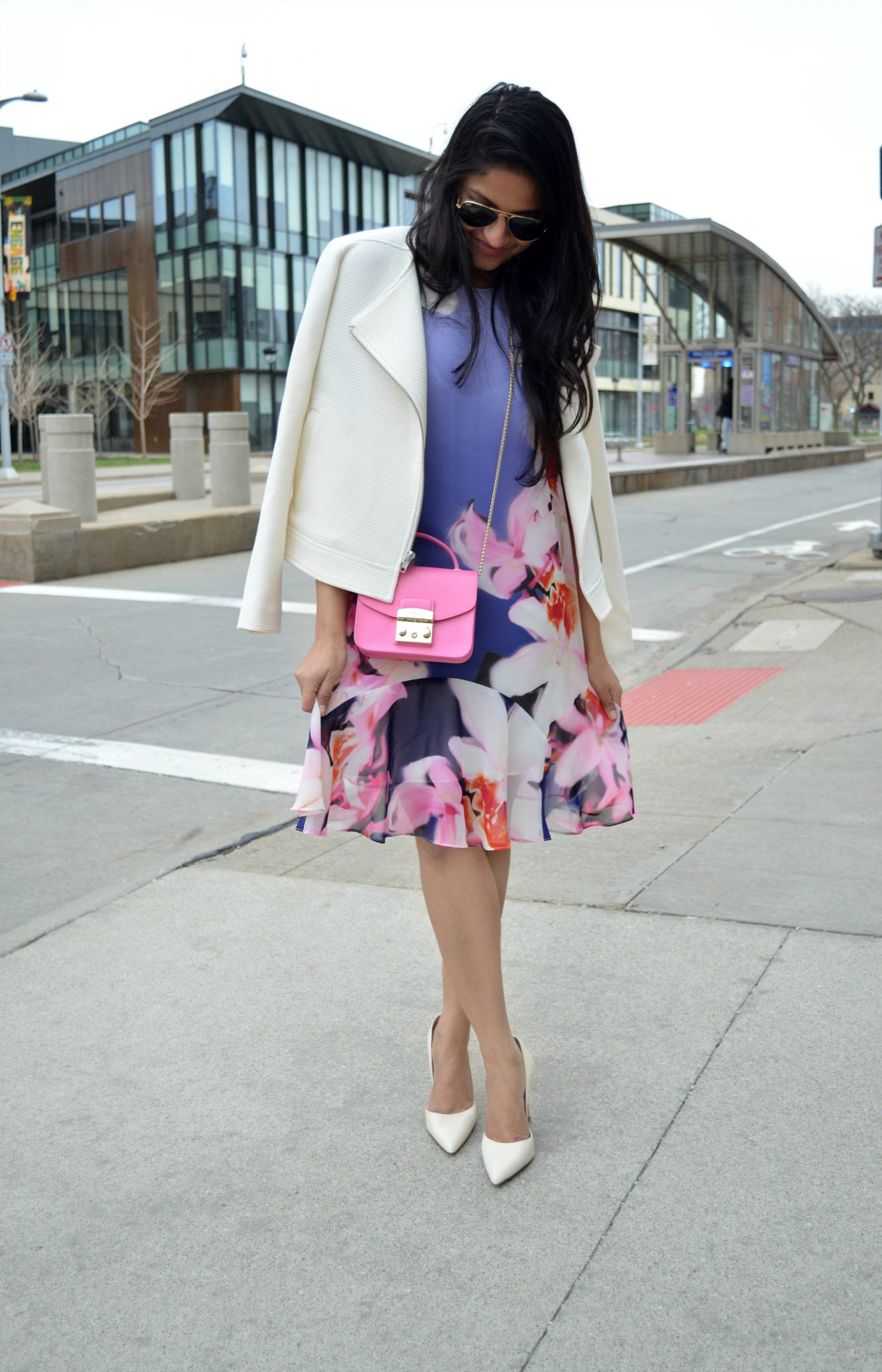 Furla pink bag- Must Have Spring & Summer Lightweight Jackets featured by popular Ohio modest fashion blogger, Dreaming Loud