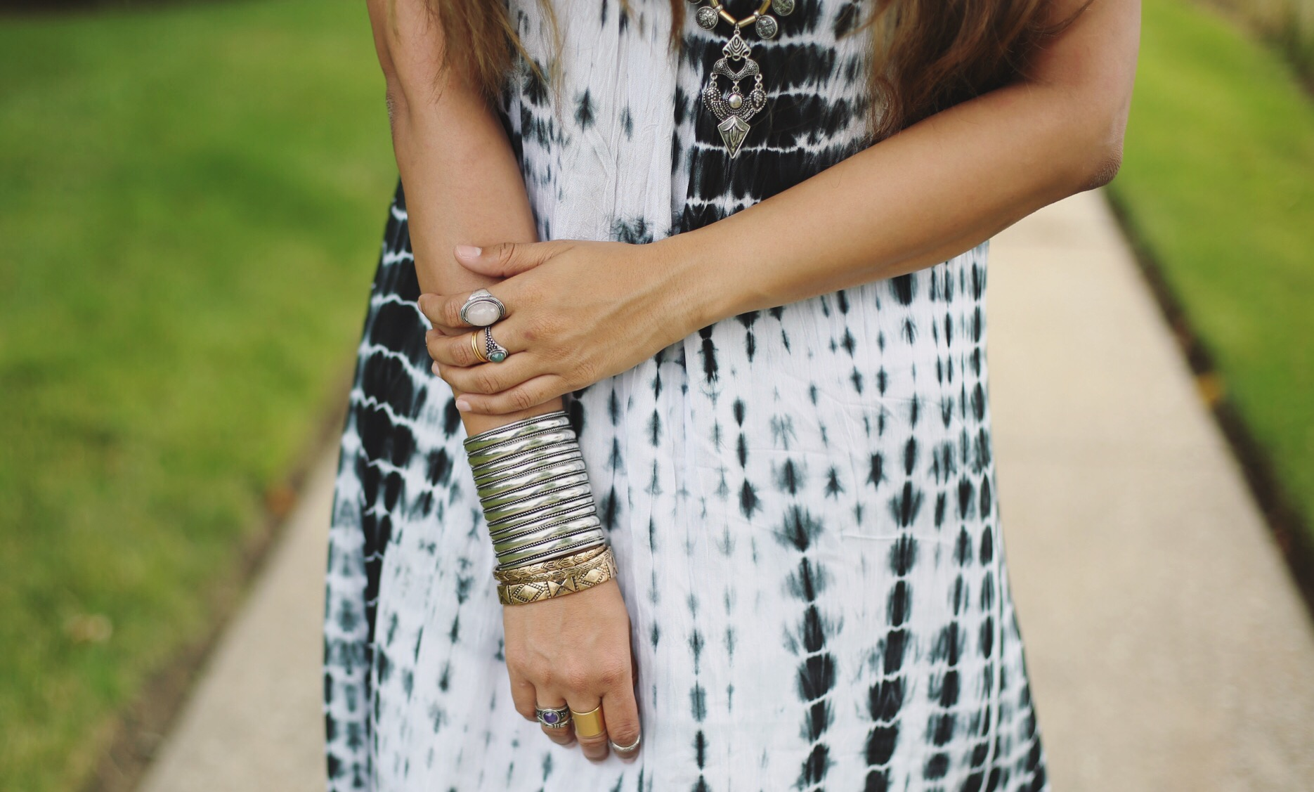 silver-boho-ridged-cuff-dl | Boho Grunge Outfit featured by popular Ohio modest fashion blogger, Dreaming Loud