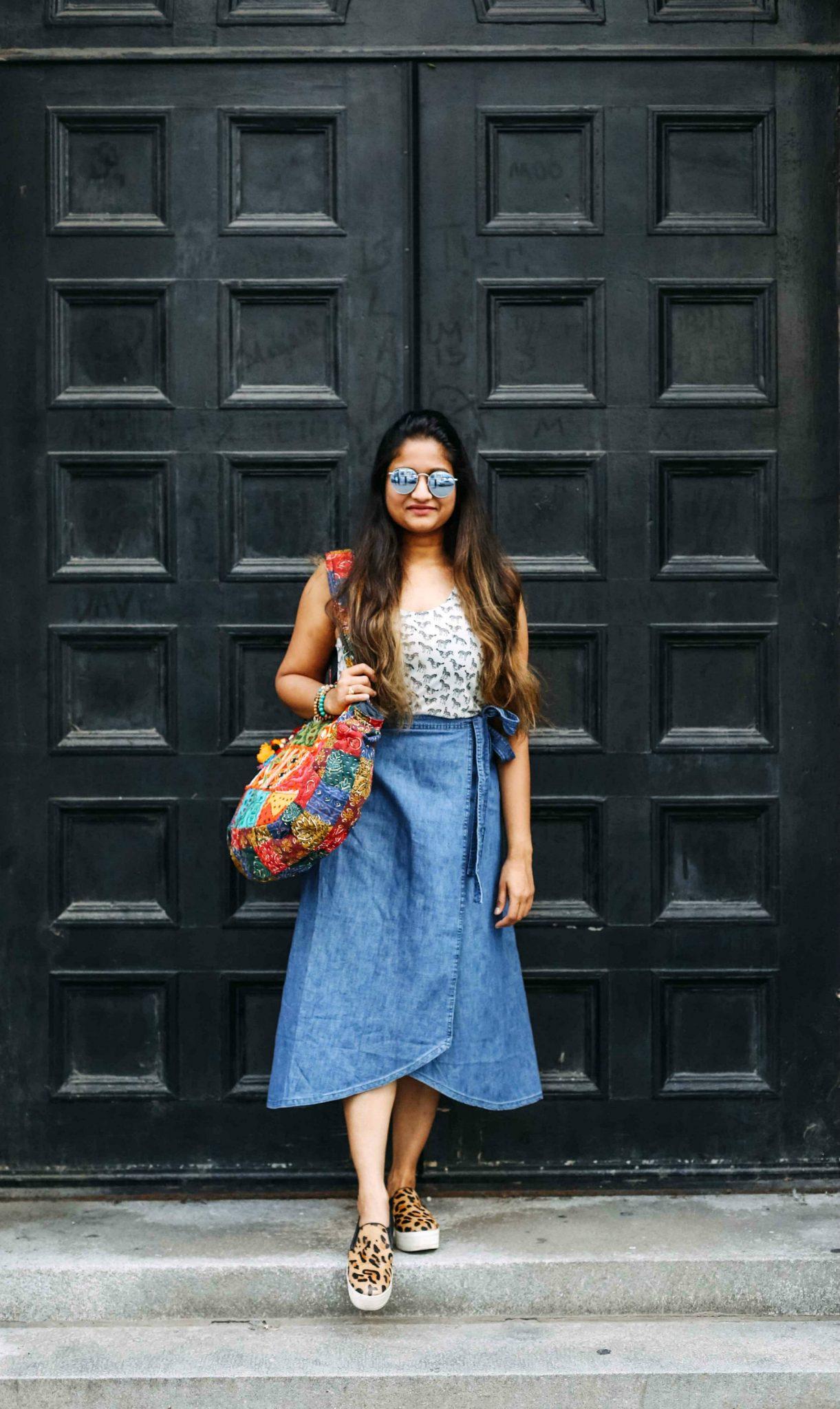 wearing gap Gap Womens Ruffle Wrap Midi Skirt In Tencel