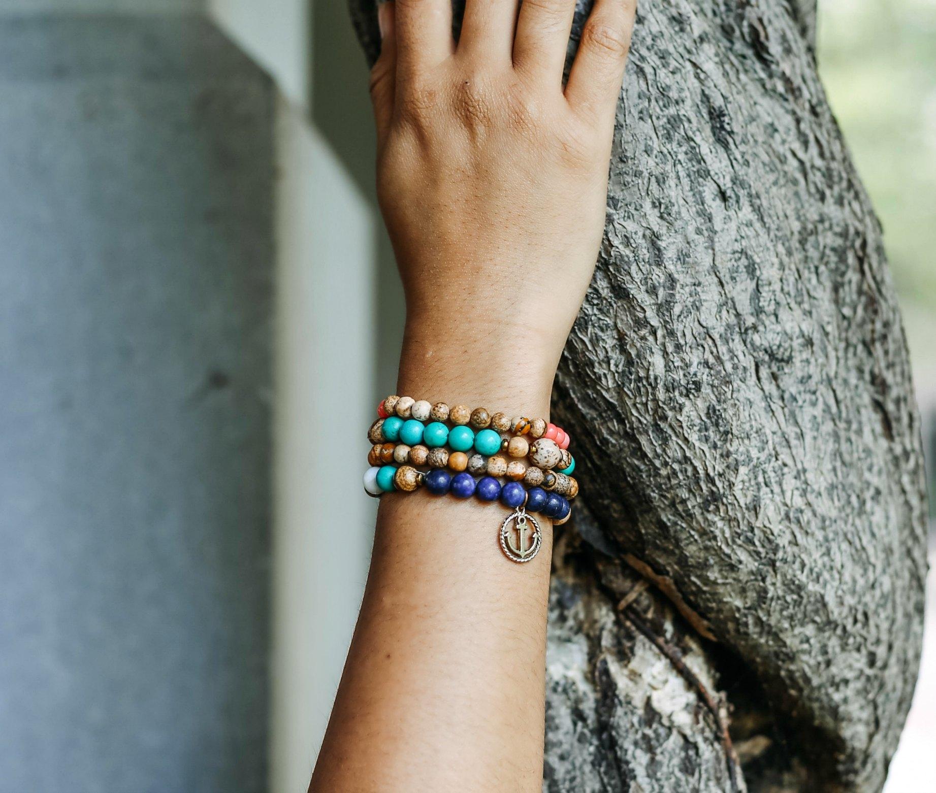 wearing make beads bracelet