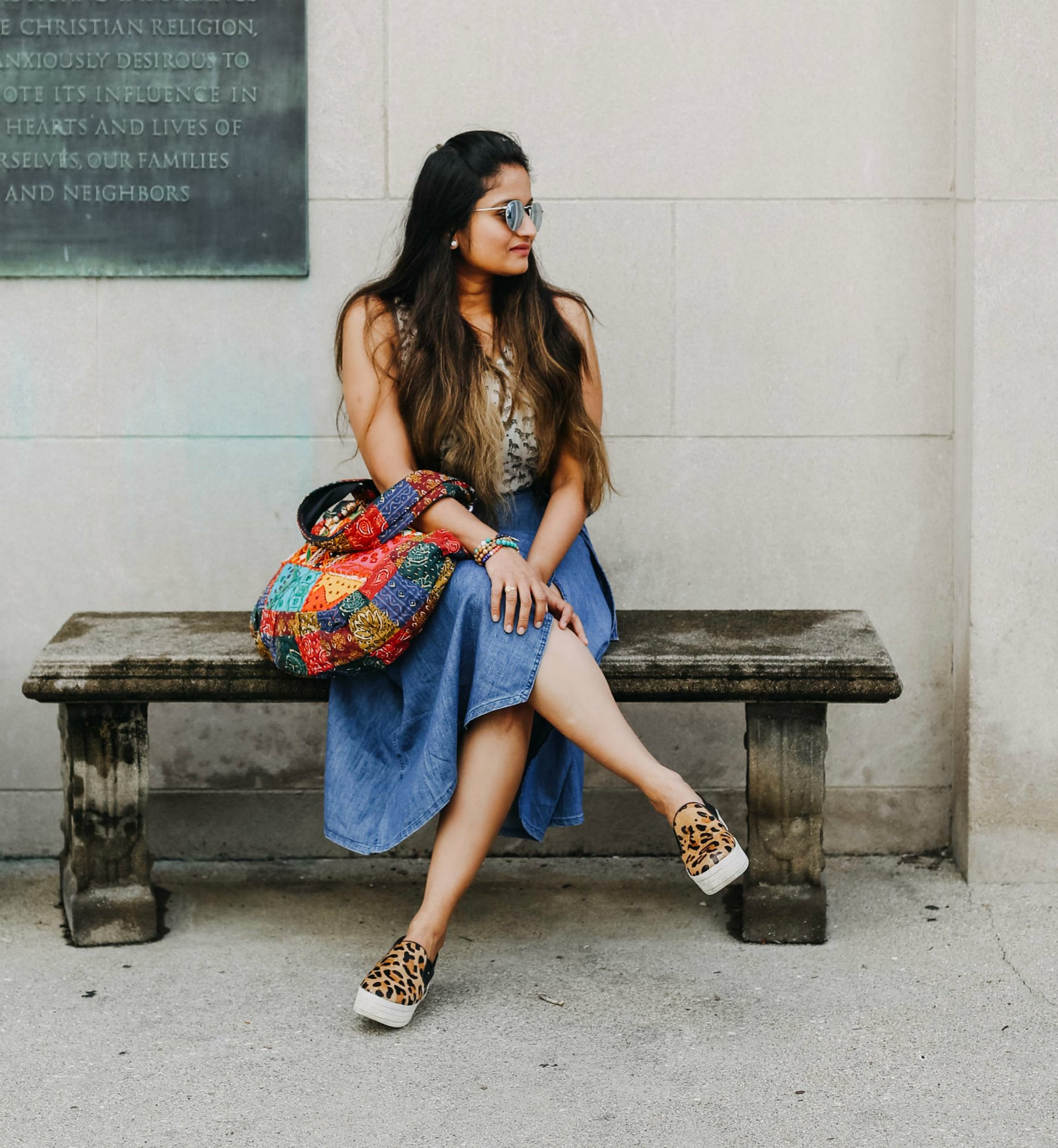 wearing tribe azure embroidery bag 2