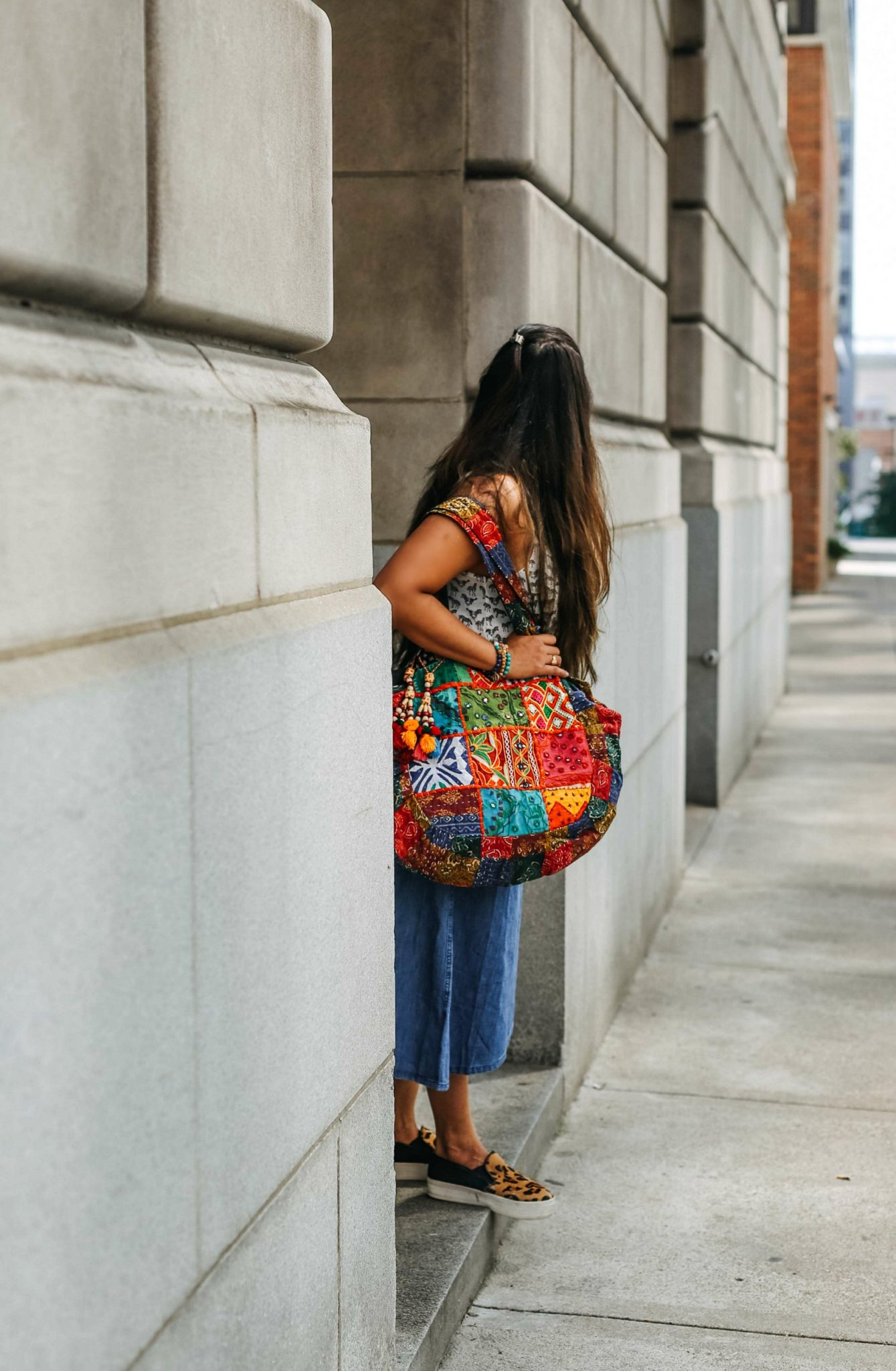 wearing tribe azure handmade Patchwork Embroidered Purse