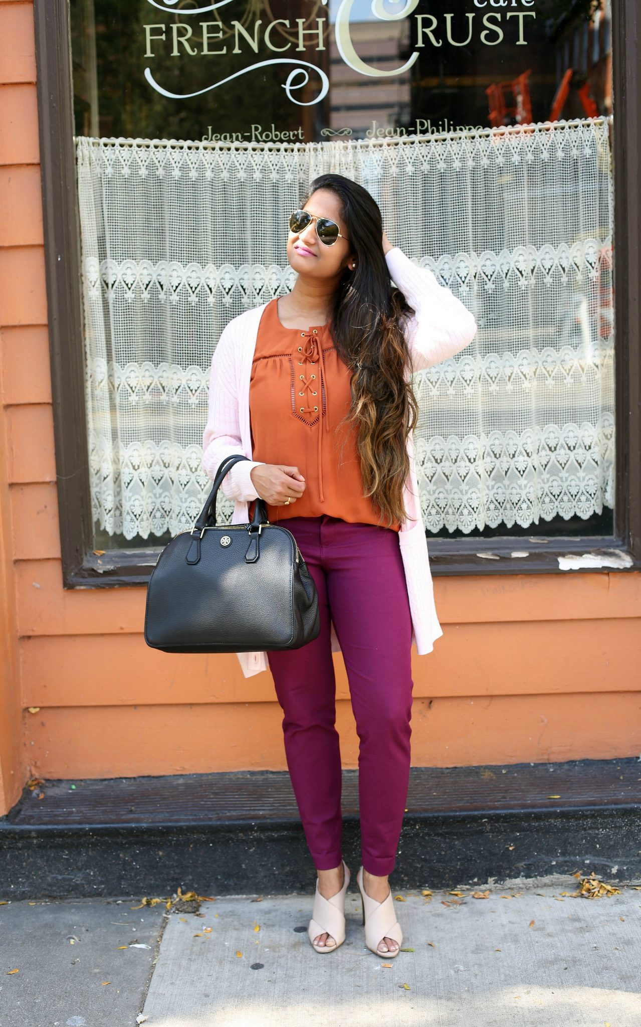 Lifestyle Blogger Surekha of Dreaming Loud Wearing Calvin Klein Karel Leather Sandals| Fall Colors Fashion - Rust, Purple and Blush Outfit featured by popular Ohio modest fashion blogger, Dreaming Loud