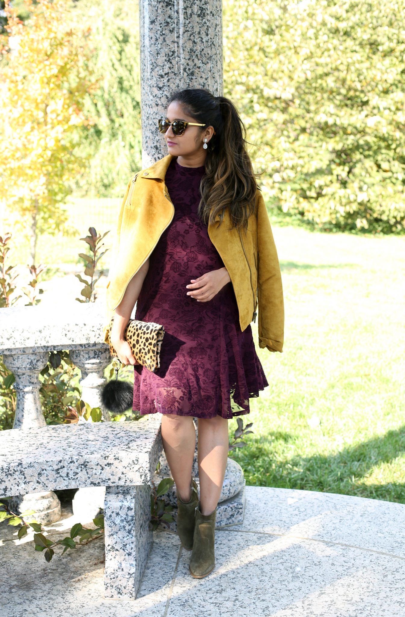 Lifestyle Blogger Surekha of Dreaming Loud Wearing wearing Flocked Mesh Ruffle Hem Dress