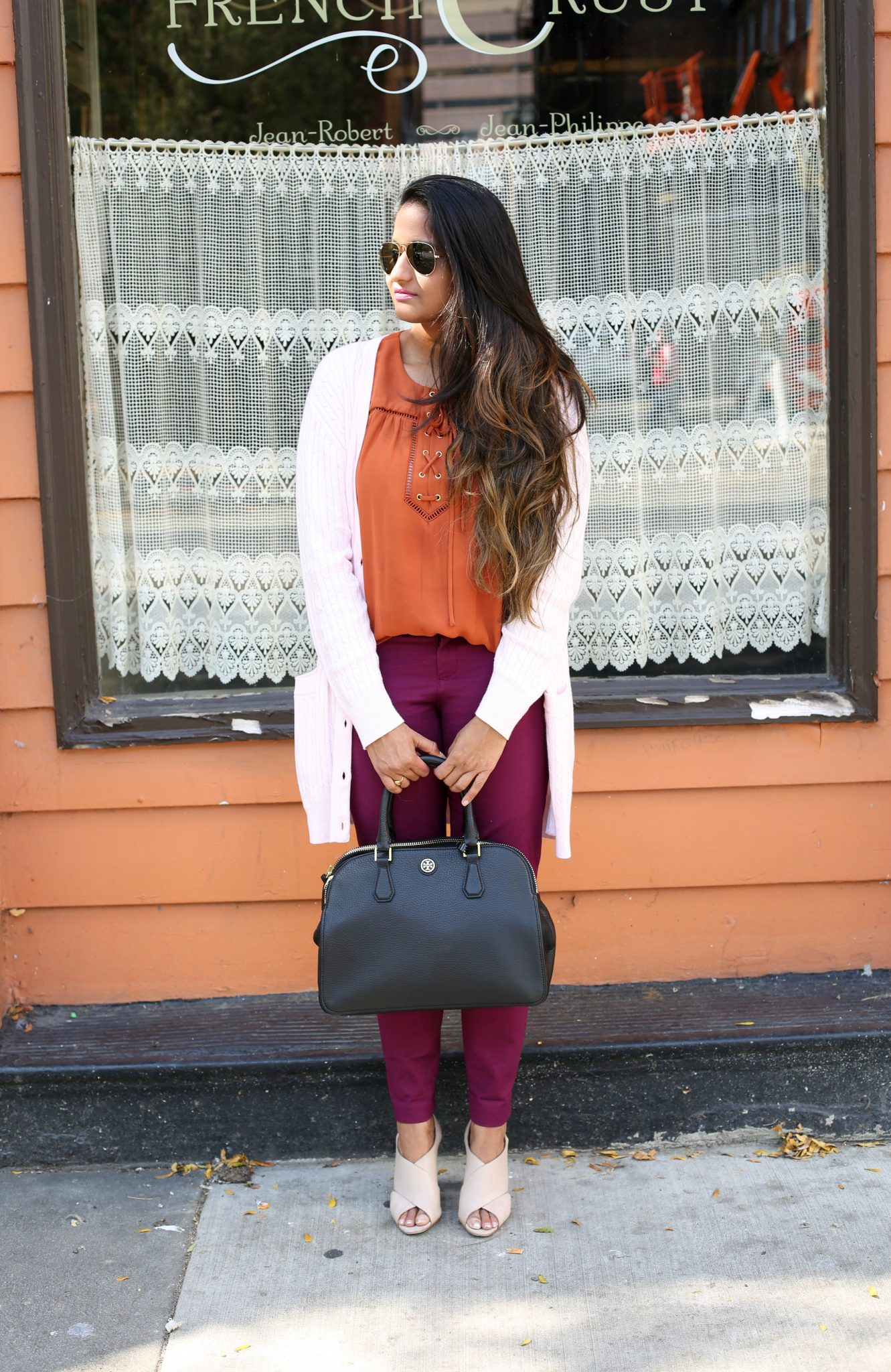 Lifestyle Blogger Surekha in Dreaming Loud Wearing Tory Burch Robinson Tote in Black| Fall Colors Fashion - Rust, Purple and Blush Outfit featured by popular Ohio modest fashion blogger, Dreaming Loud