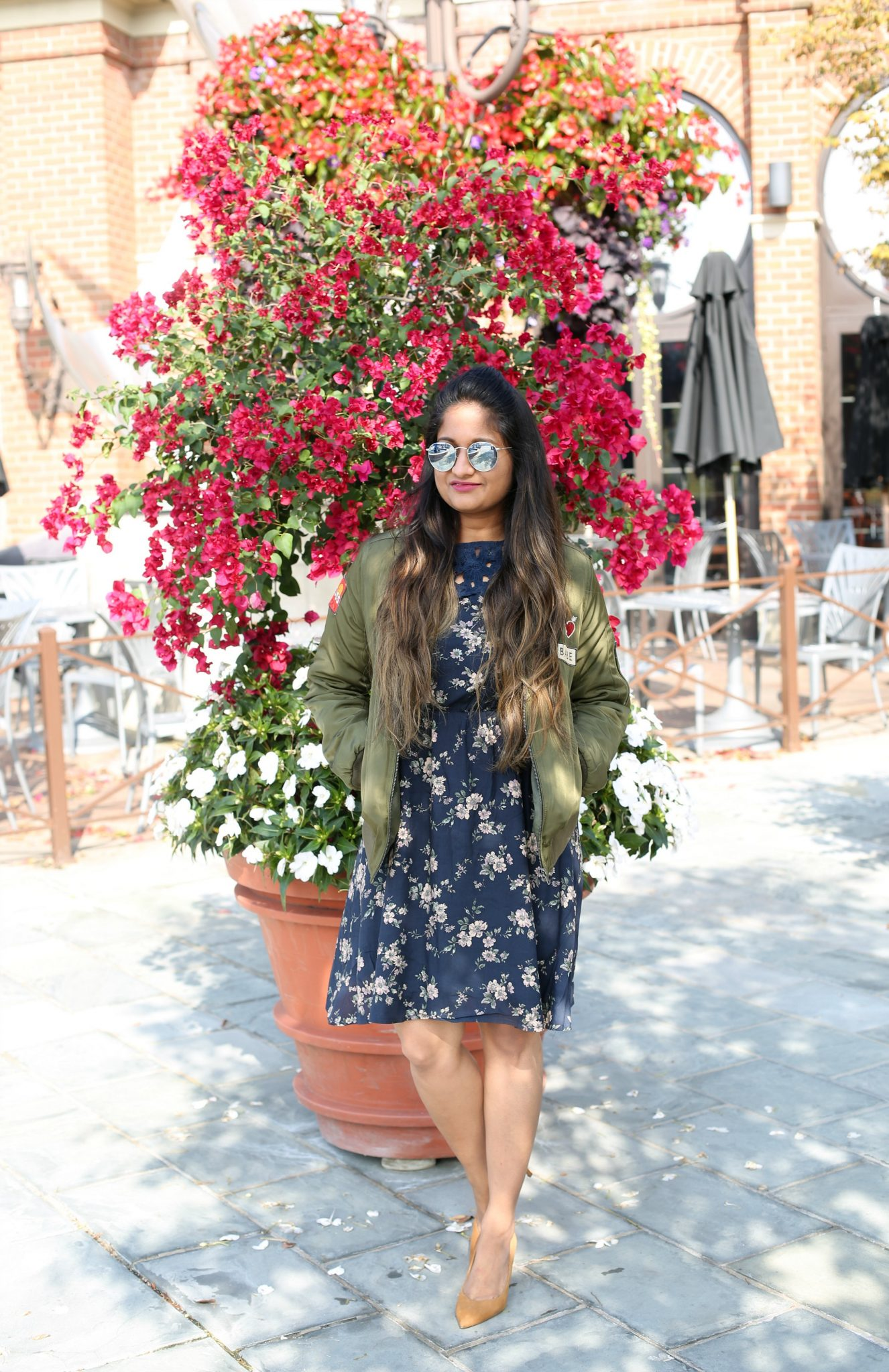 Floral dress with bomber jacket - Must Have Spring & Summer Lightweight Jackets featured by popular Ohio modest fashion blogger, Dreaming Loud