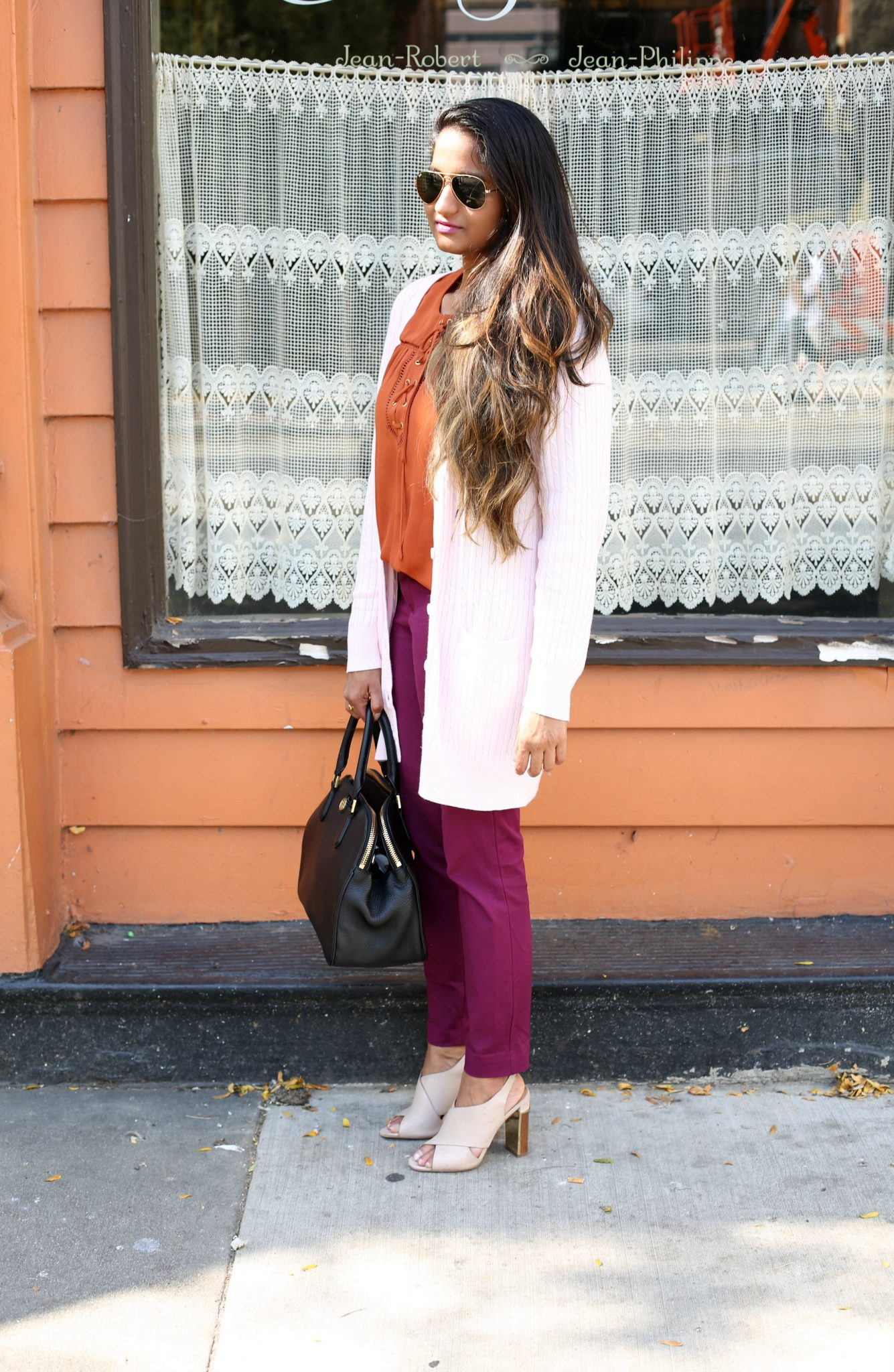 Lifestyle Blogger Surekha in Dreaming Loud Sharing Fall Work wear outfit in Purple, Rust and Blush| Fall Colors Fashion - Rust, Purple and Blush Outfit featured by popular Ohio modest fashion blogger, Dreaming Loud