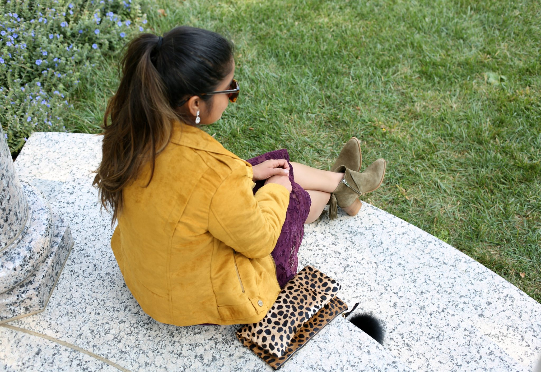 Lifestyle Blogger Surekha of Dreaming Loud Wearing Marc Fisher Janay Olive Suede Boots