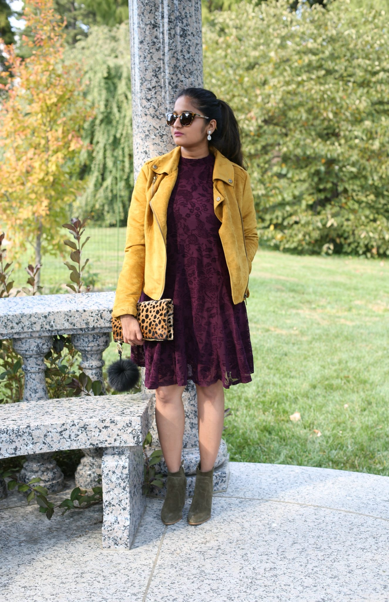 Lifestyle Blogger Surekha of Dreaming Loud Sharing Burgundy and Yellow combination outfit