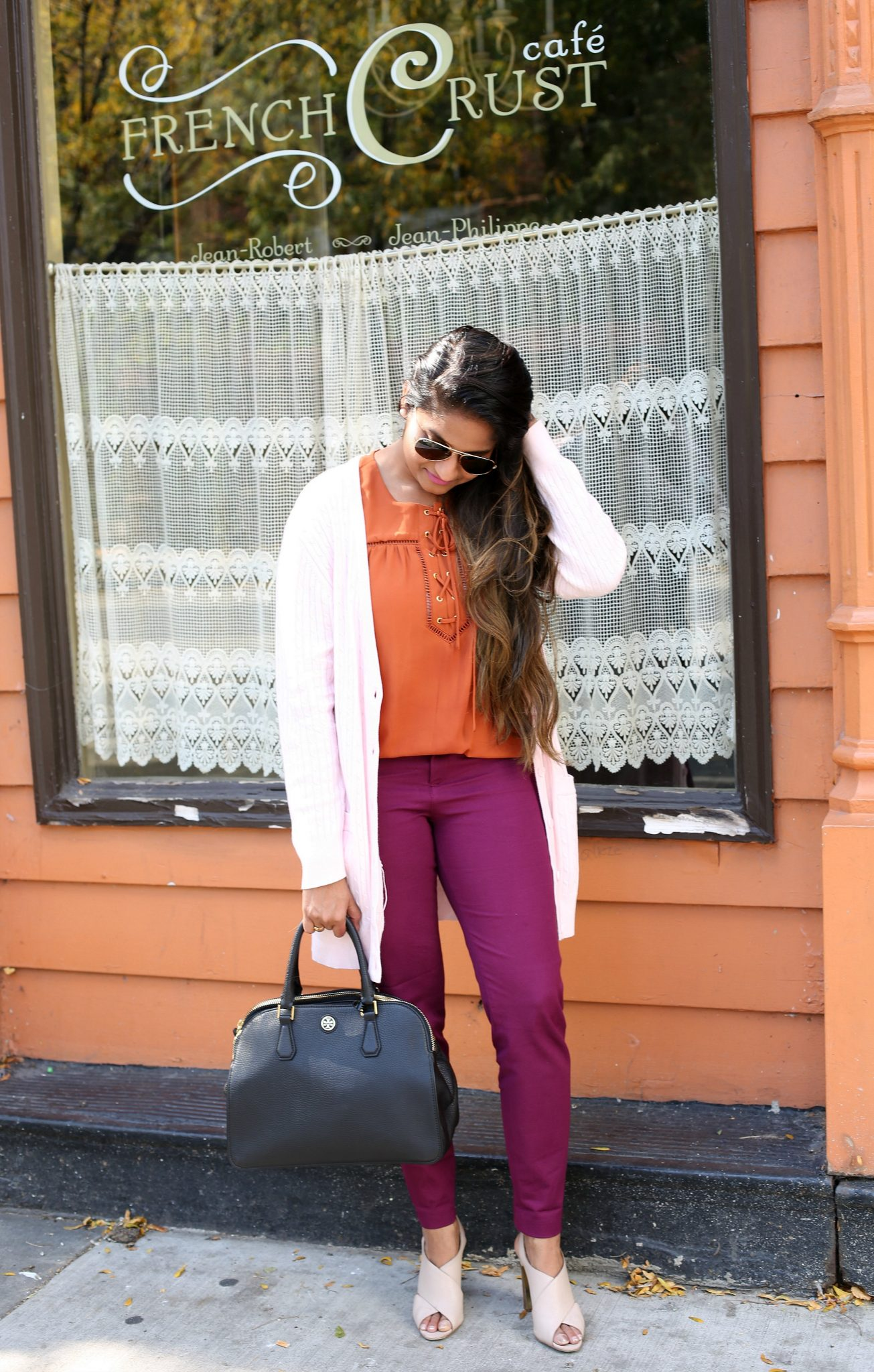 Life Style Blogger Surekha of Dreaming Loud wearing Old Navy Pixie Ankle Pant in Winter Wine| Fall Colors Fashion - Rust, Purple and Blush Outfit featured by popular Ohio modest fashion blogger, Dreaming Loud