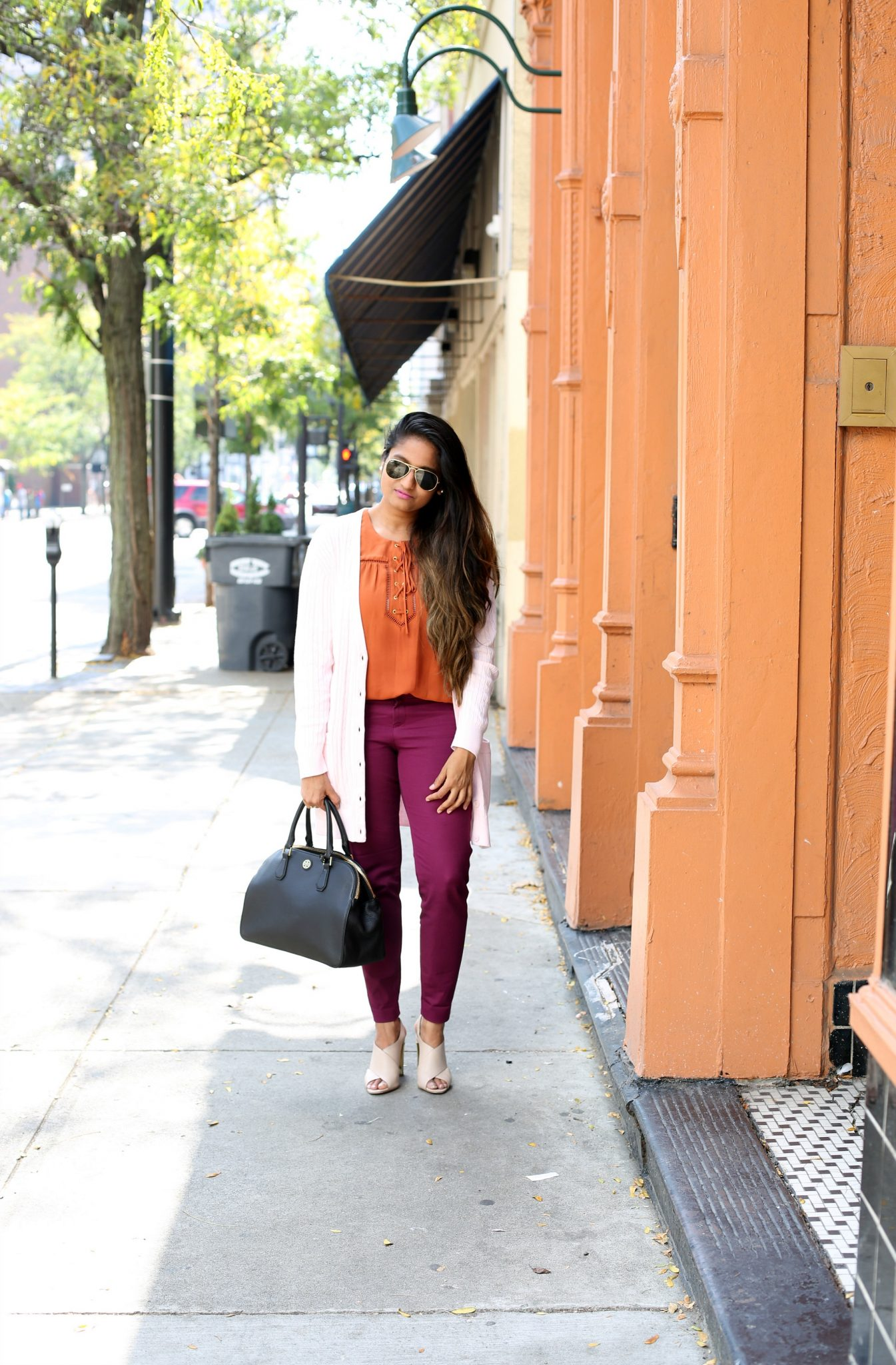 Life Style Blogger Surekha of Dreaming Loud wearing Old Navy Pixie Ankle Pant in Winter Wine | Fall Colors Fashion - Rust, Purple and Blush Outfit featured by popular Ohio modest fashion blogger, Dreaming Loud