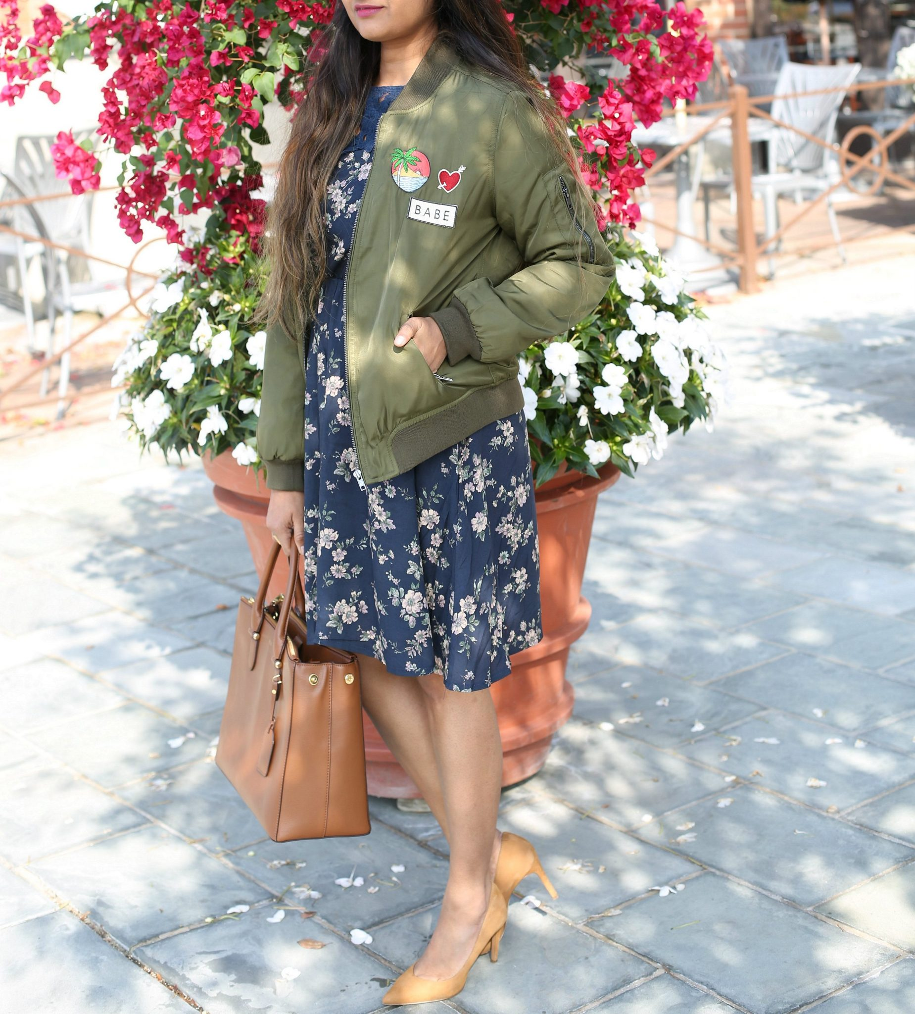 pacsun-kylie-patched-bomber-jacket-olive-dl - How To Wear Khaki featured by popular modest fashion blogger, Dreaming Loud