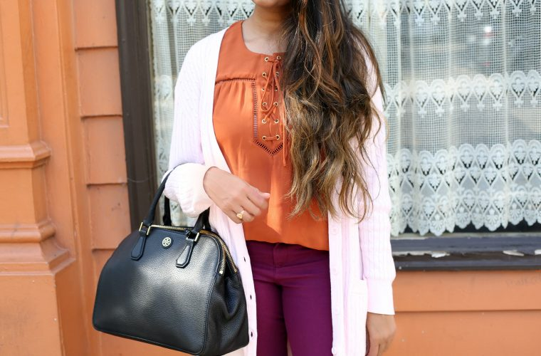 purple-blush-rust-colors-outfit-ideas-1 | Fall Colors Fashion - Rust, Purple and Blush Outfit featured by popular Ohio modest fashion blogger, Dreaming Loud