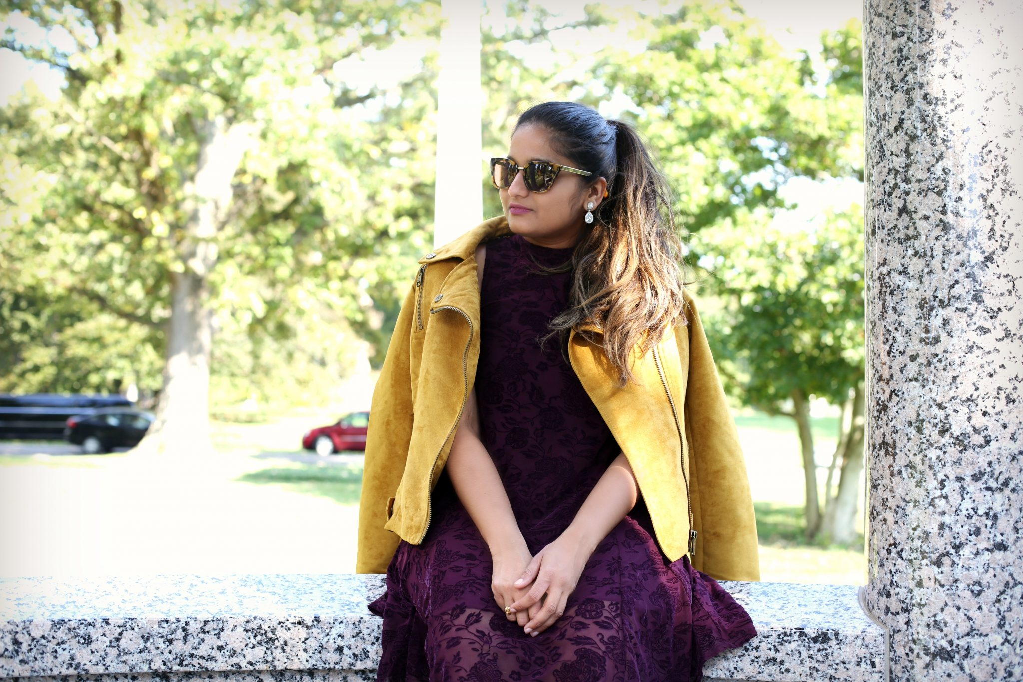 Lifestyle Blogger Surekha of Dreaming Loud Wearing Steve Madden Faux Suede Moto Jacket in Mustard
