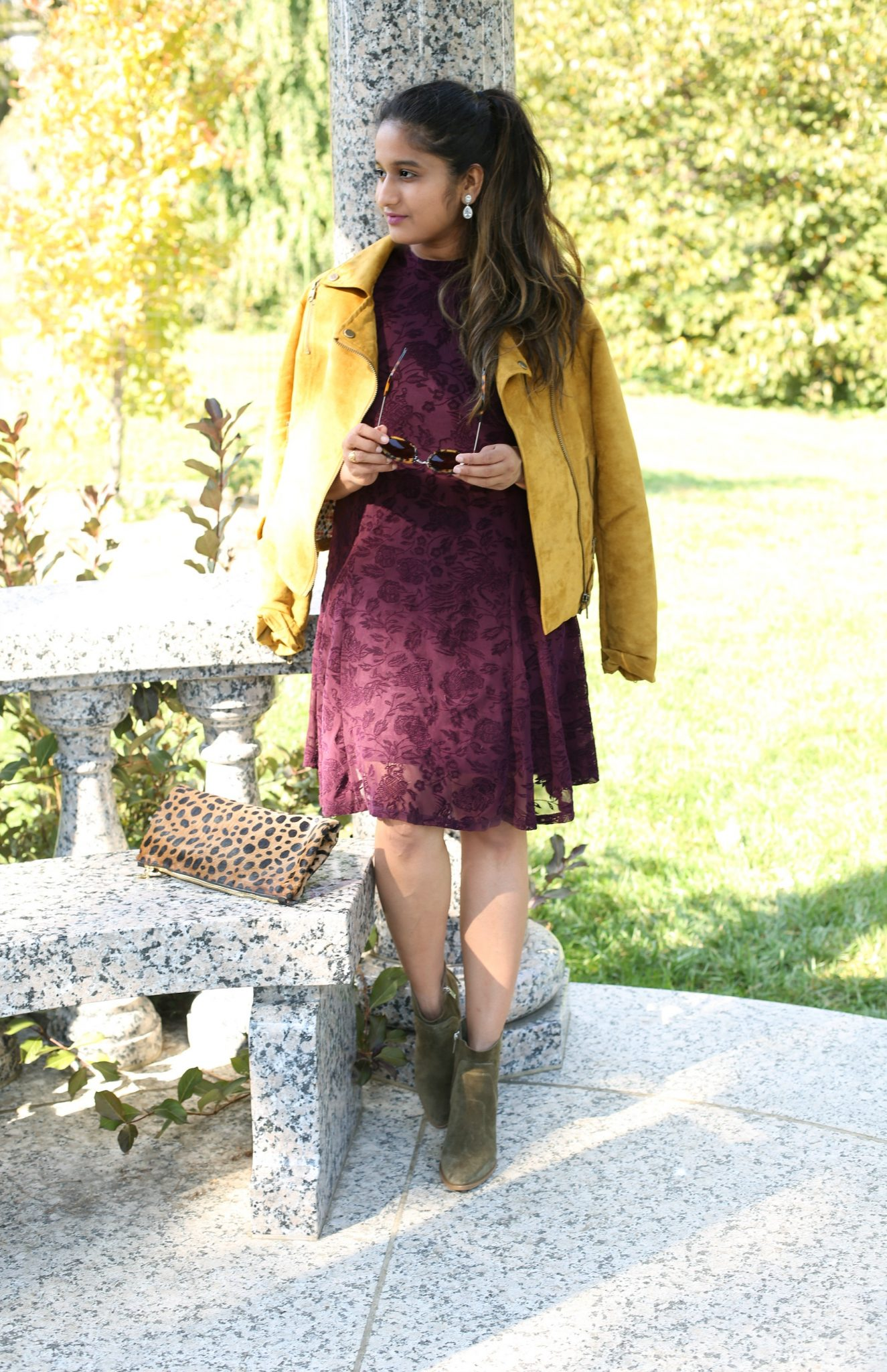 Lifestyle Blogger Surekha of Dreaming Loud Wearing Burgundy yellow and green fall colors outfit