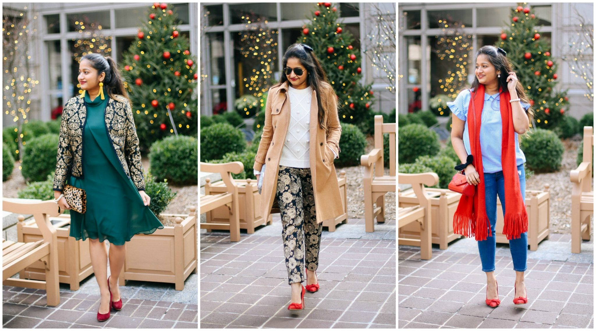 Christmas | Gold | Plaid | Nordstrom | J.Crew | Ann Taylor | Fashion | Sequins | 5 Easy Holiday Outfit Ideas featured by top Ohio modest fashion blog Dreaming Loud