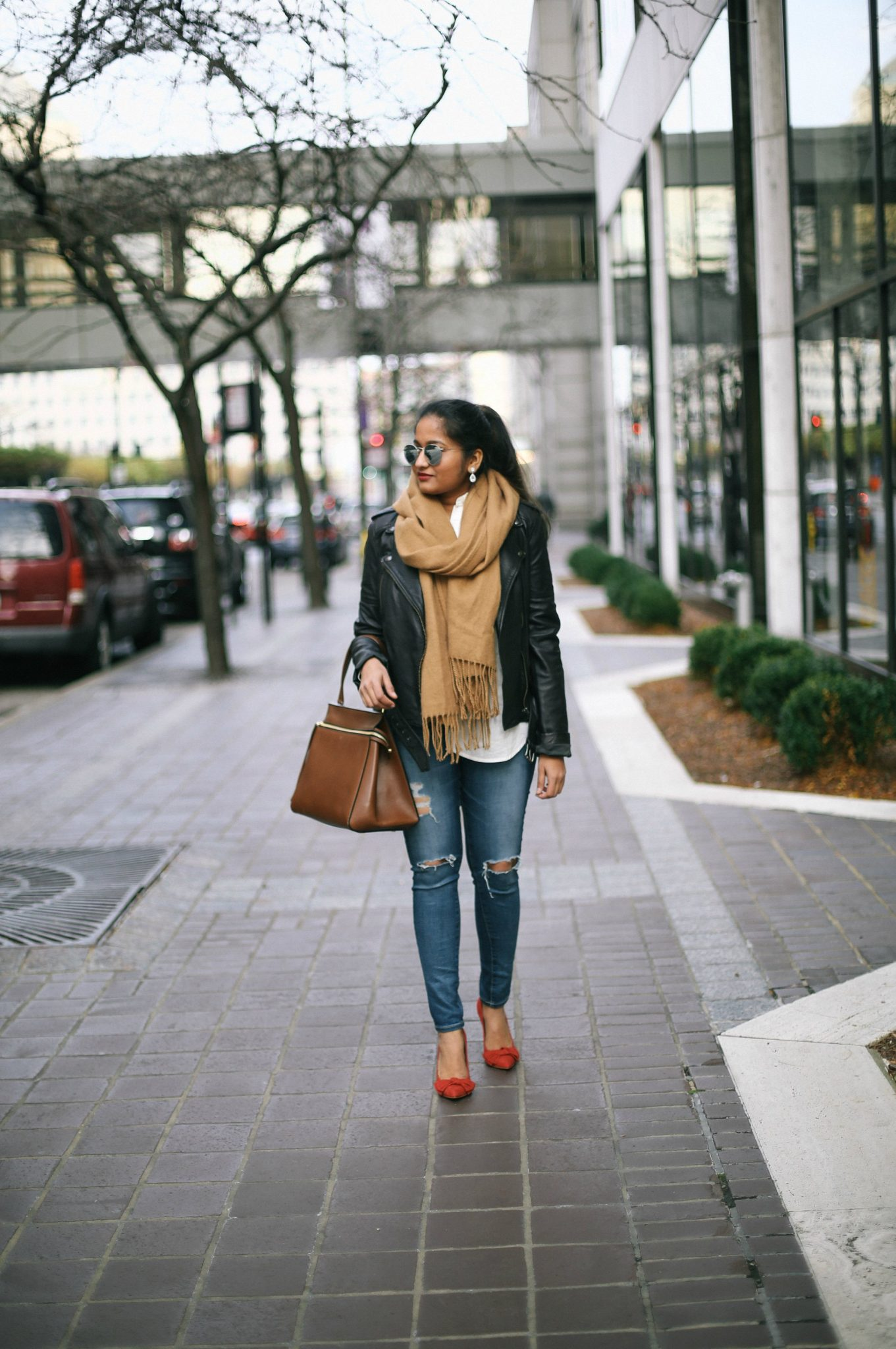 The Classic Leather Jacket Look for Early Winter featured by popular Ohio modest fashion blogger, Dreaming Loud-chic-ways-to-wear-a-leather-jacket