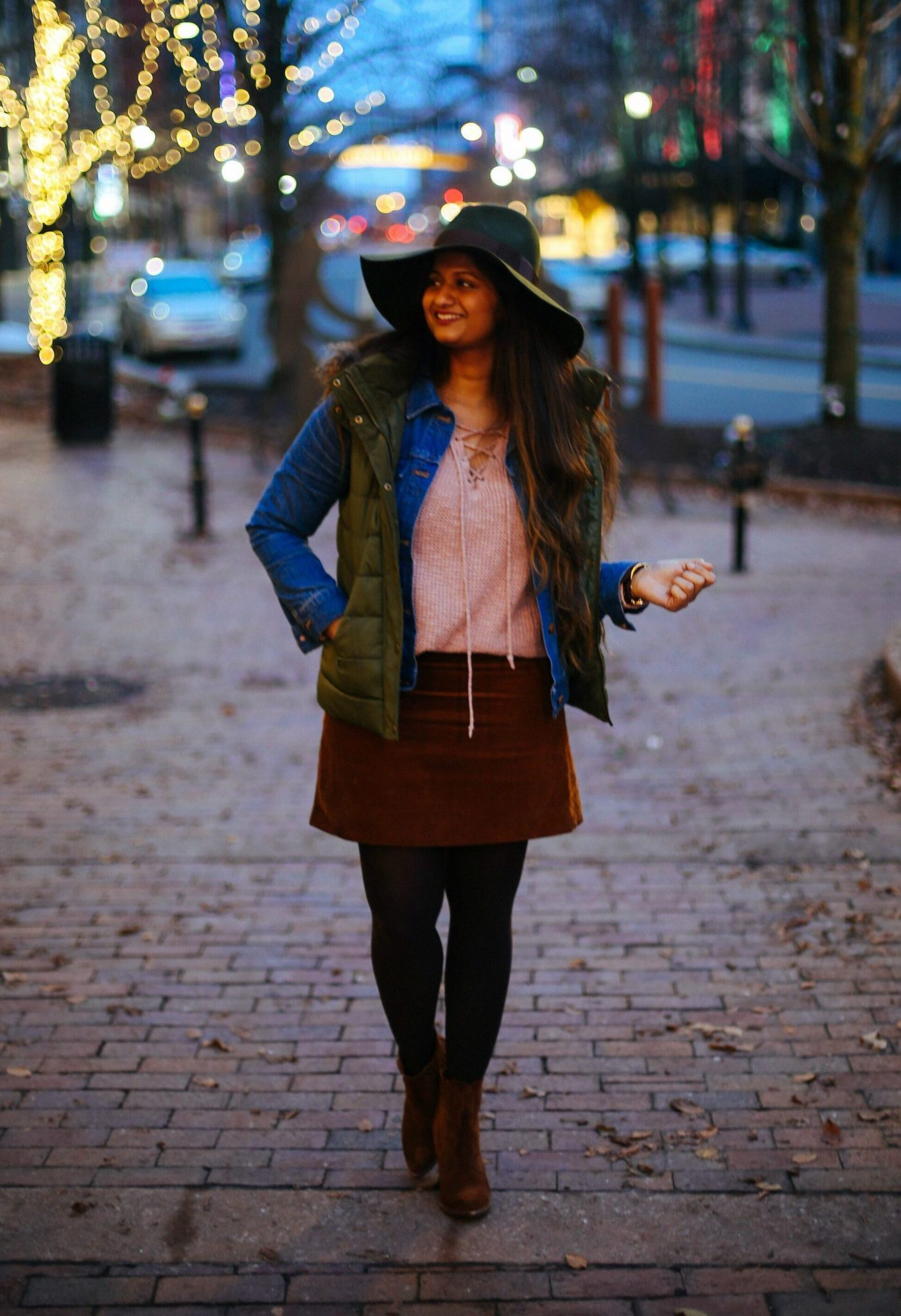 Top Winter Layering Essentials That Every Women Should Own featured by popular Ohio modest fashion blogger, Dreaming Loud-american-eagle-blush-lace-up-sweater-1