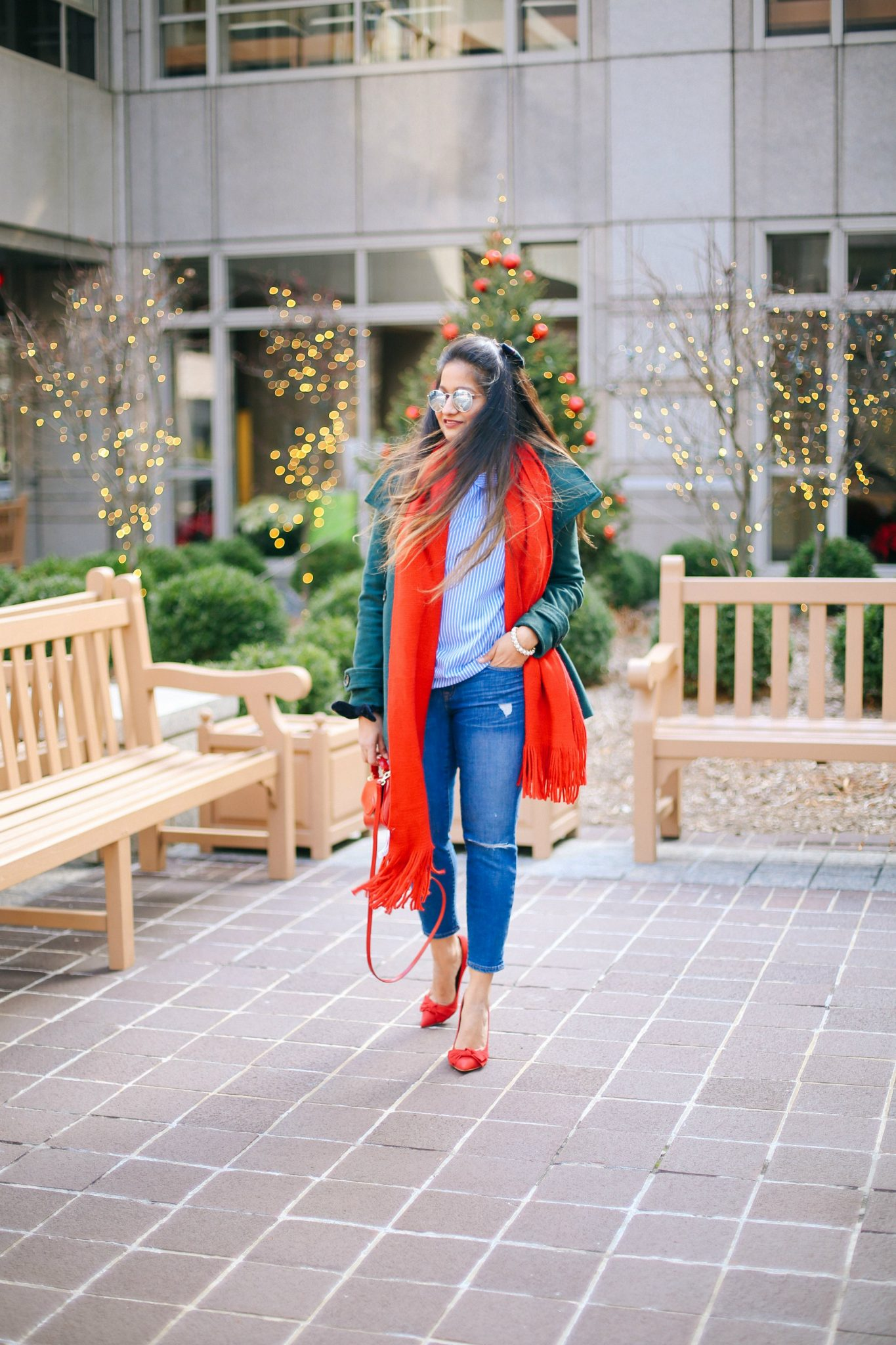 jcrew-distressed-toothpick-jeans | Style | Christmas | Affordable Festive Clothing with Shein featured by top Ohio modest fashion blog Dreaming Loud
