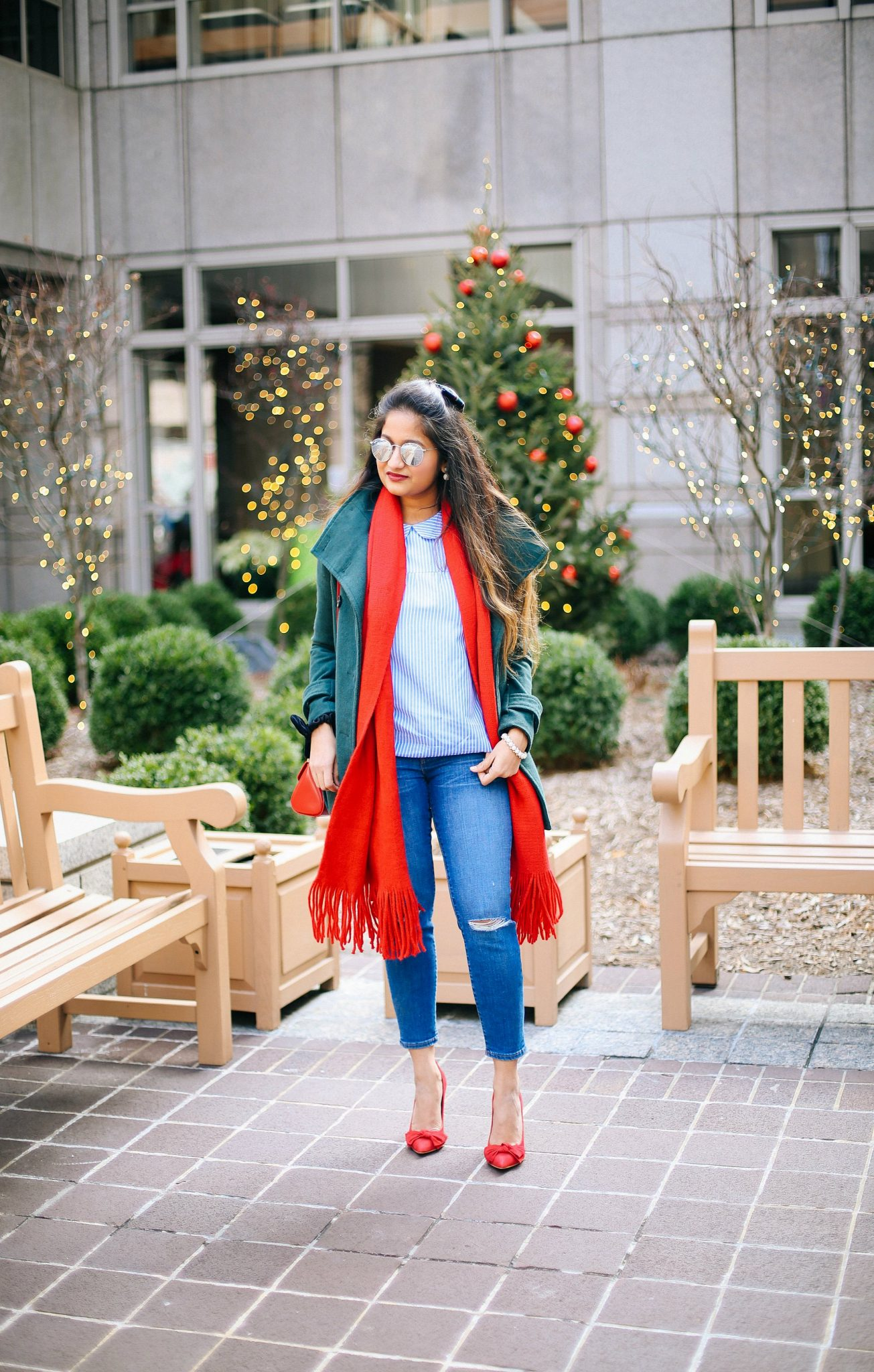 old-navy-solid-fringe-scarf-red | Style | Christmas | Affordable Festive Clothing with Shein featured by top Ohio modest fashion blog Dreaming Loud