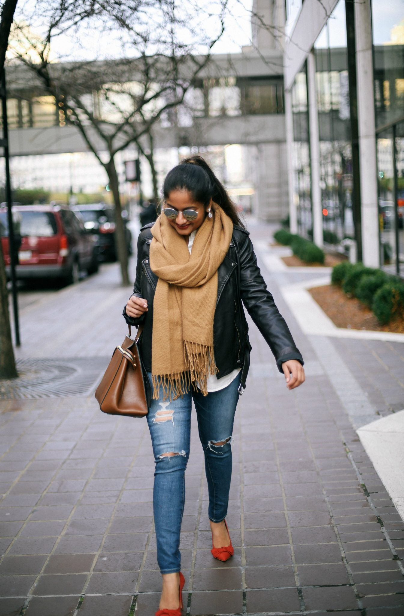 sThe Classic Leather Jacket Look for Early Winter featured by popular Ohio modest fashion blogger, Dreaming Loud-steve-madden-red-bow-pumps