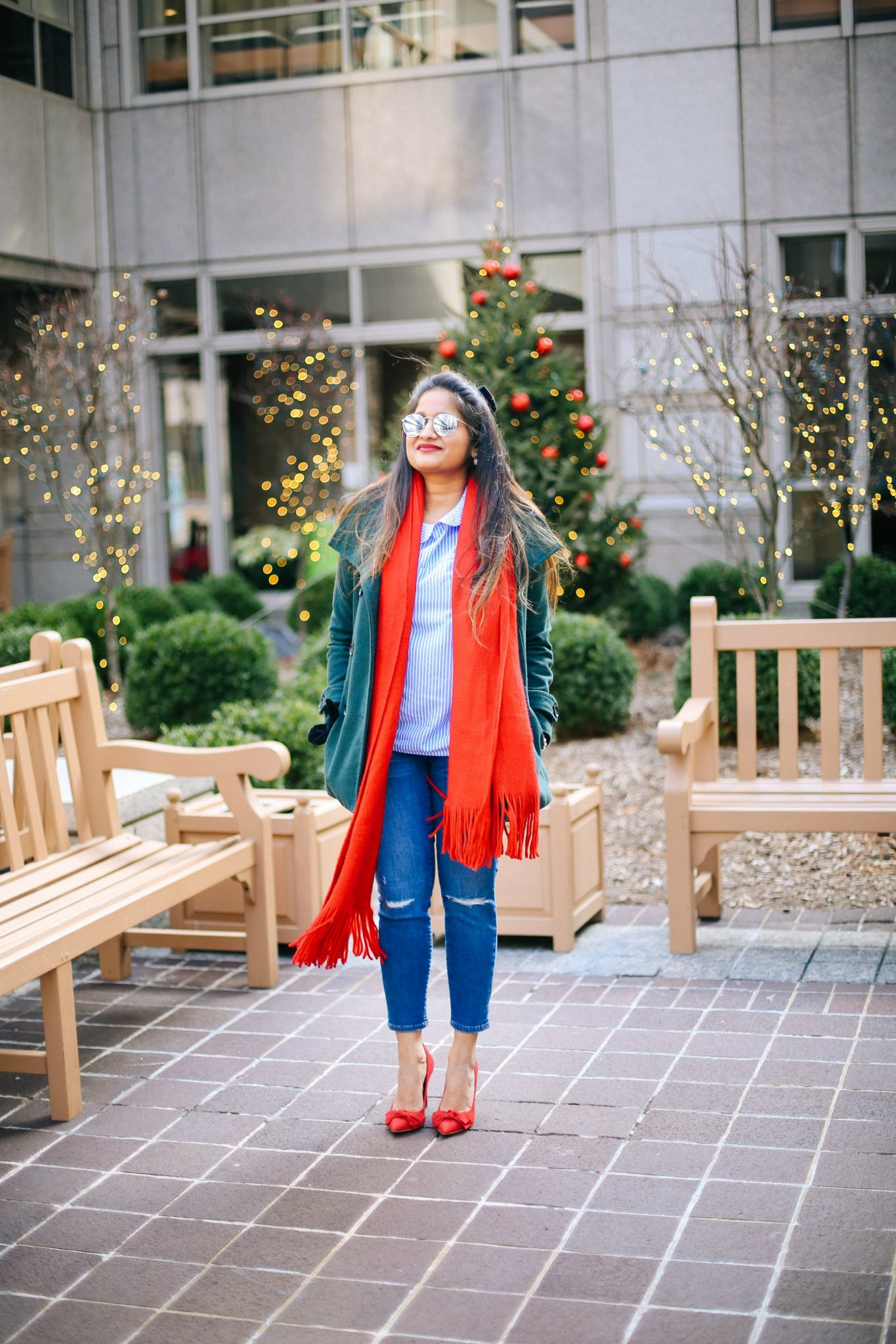 thread-and-supply-green-peacoat-1 | Style | Christmas | Affordable Festive Clothing with Shein featured by top Ohio modest fashion blog Dreaming Loud