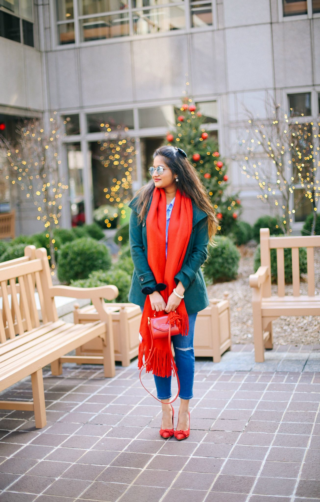 thread-and-supply-green-peacoat | Style | Christmas | Affordable Festive Clothing with Shein featured by top Ohio modest fashion blog Dreaming Loud
