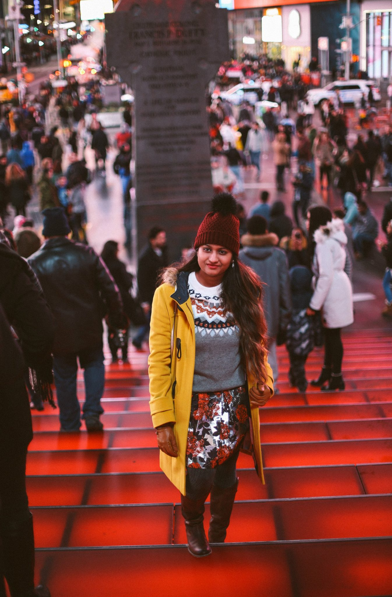 time-square-nyc-winter-outfit-ideasTimes Square Photos featured by popular Ohio modest fashion blogger, Dreaming Loud