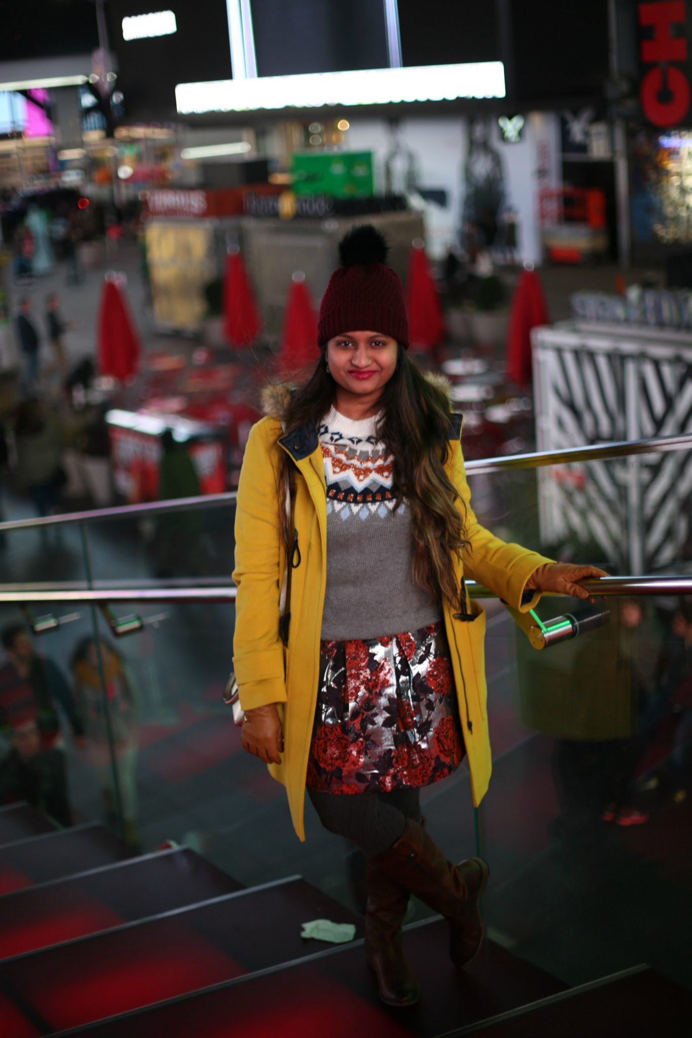 what-to-wear-in-nyc-in-winterTimes Square Photos featured by popular Ohio modest fashion blogger, Dreaming Loud