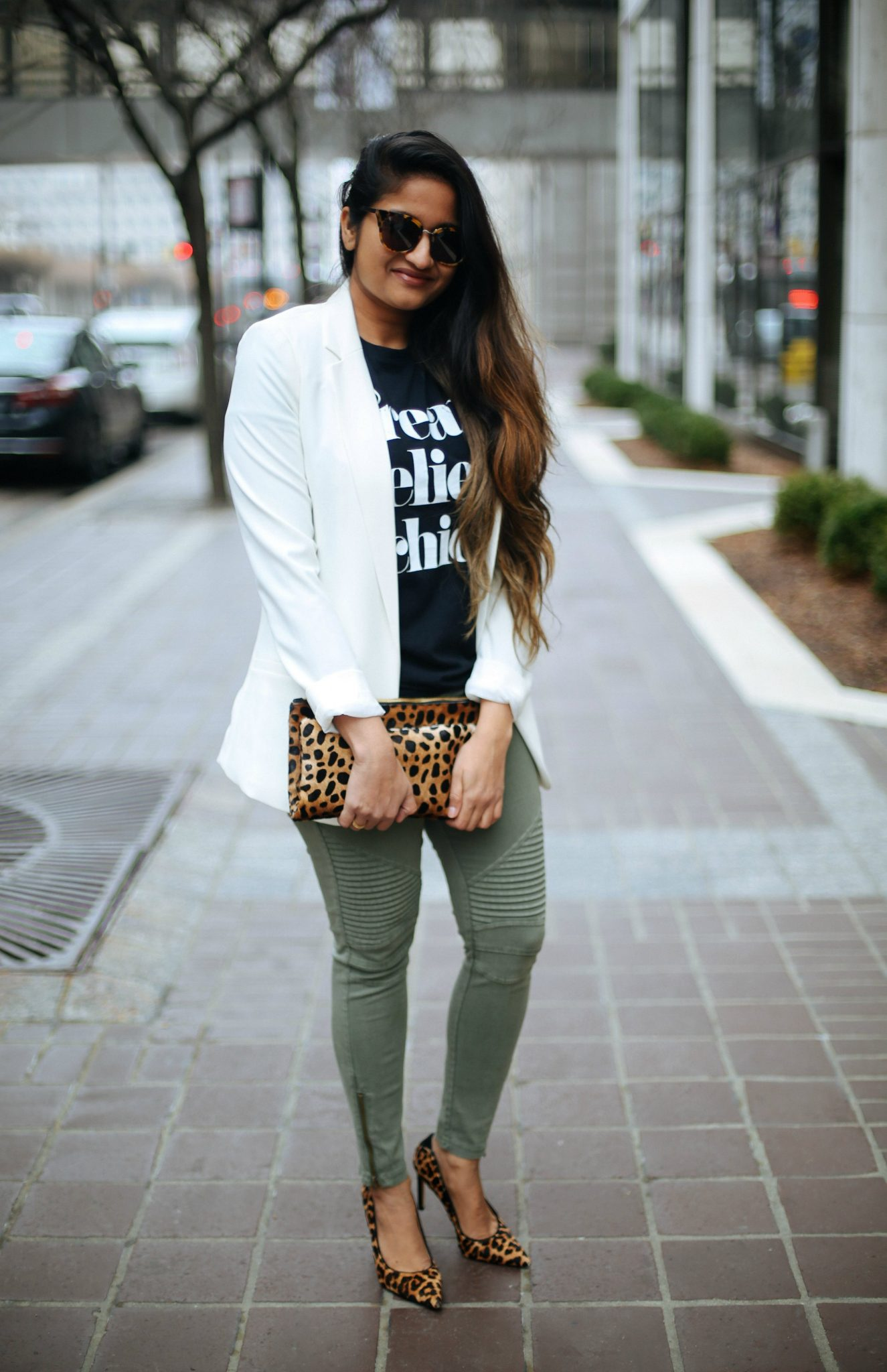 dressing-up-a-moto-jegging-1 - How To Wear Khaki featured by popular modest fashion blogger, Dreaming Loud