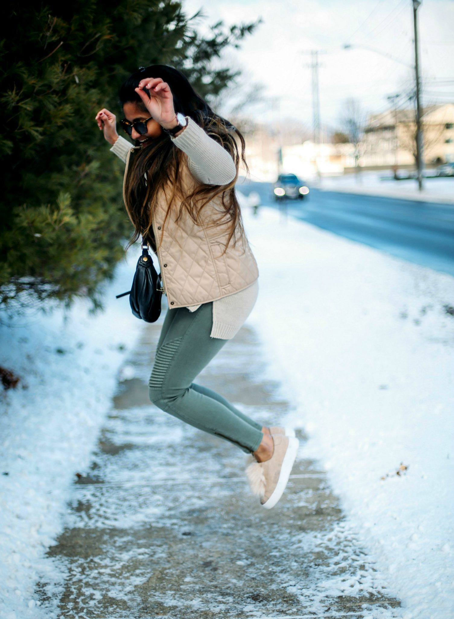 3 Ways To Wear a Moto Jegging- Casual, Dressy and Boho featured by popular Ohio modest fashion blogger, Dreaming Loud- llbean-puffer-vest-beige