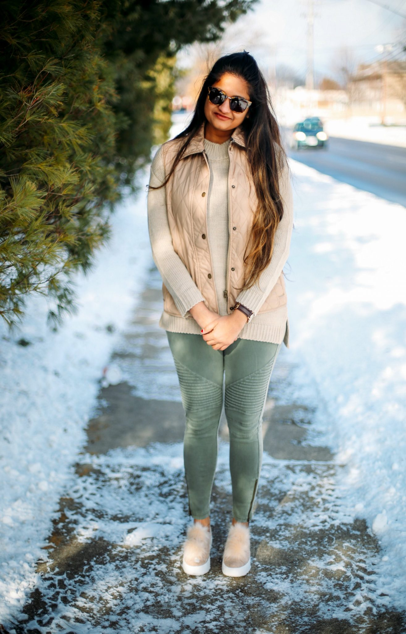 3 Ways To Wear a Moto Jegging- Casual, Dressy and Boho featured by popular Ohio modest fashion blogger, Dreaming Loud-steve-madden-fur-sneakers
