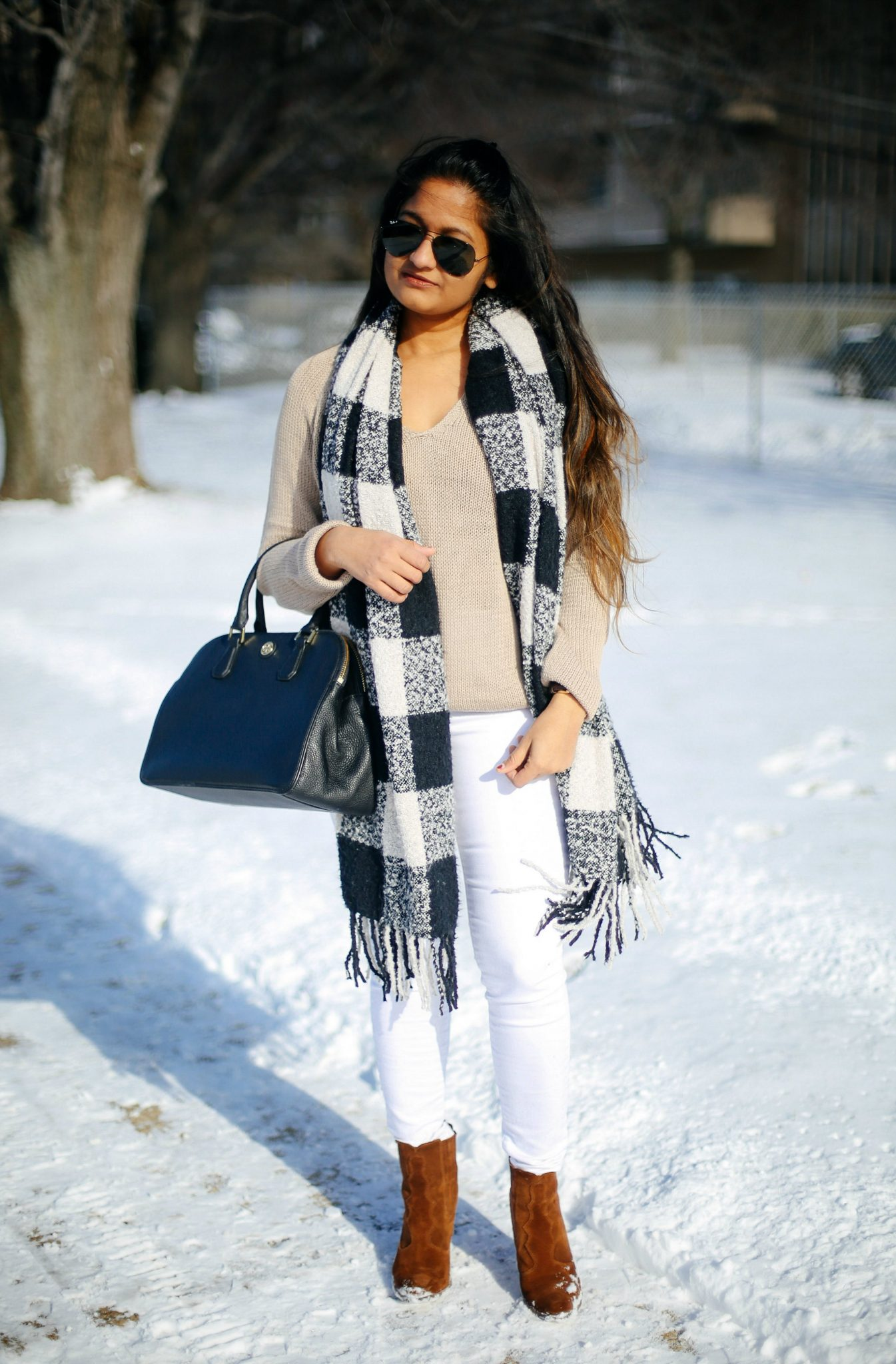ASOS-PREMIUM-JEANS-WHITE - 6 Winter Neutral Color Combinations featured by popular Ohio modest fashion blogger, Dreaming Loud