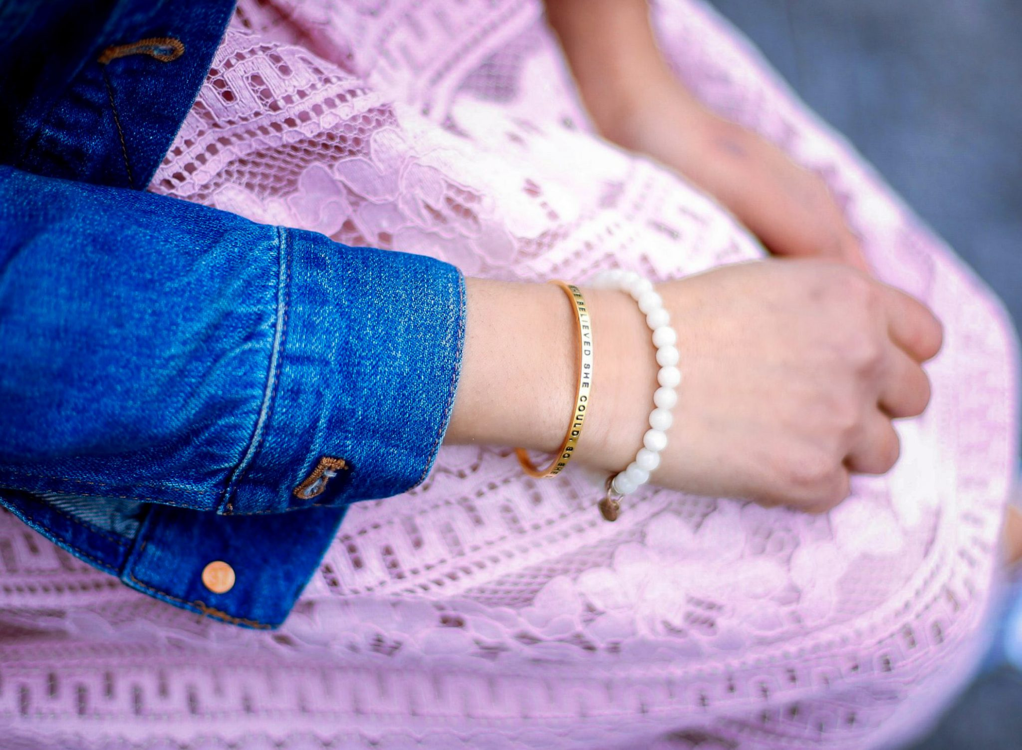 lifestyle blog dreaming loud wearing MANTRABAND-she-believed-she-could-cuff