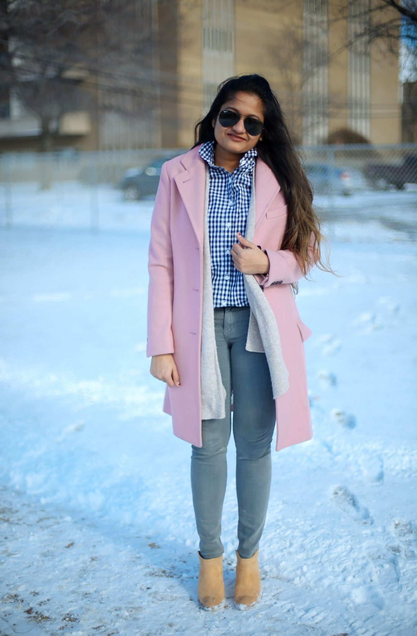 asos-GLOVERALL-pink-coat - 6 Winter Neutral Color Combinations featured by popular Ohio modest fashion blogger, Dreaming Loud