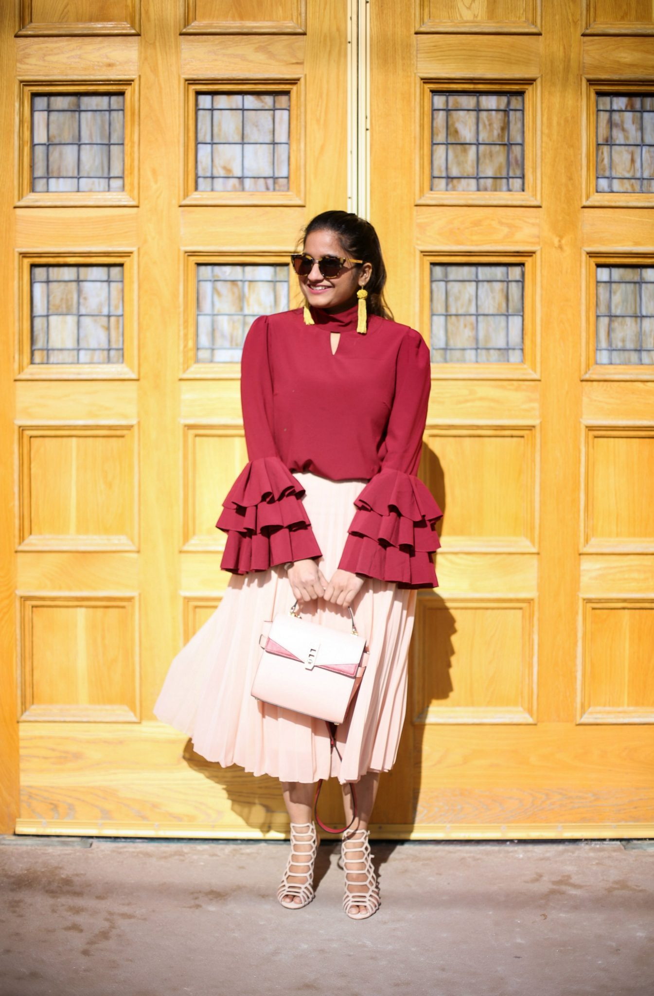 Lifestyle Blogger Surekha of Dreaming Loud Wearing Asos nude pleated midi skirt