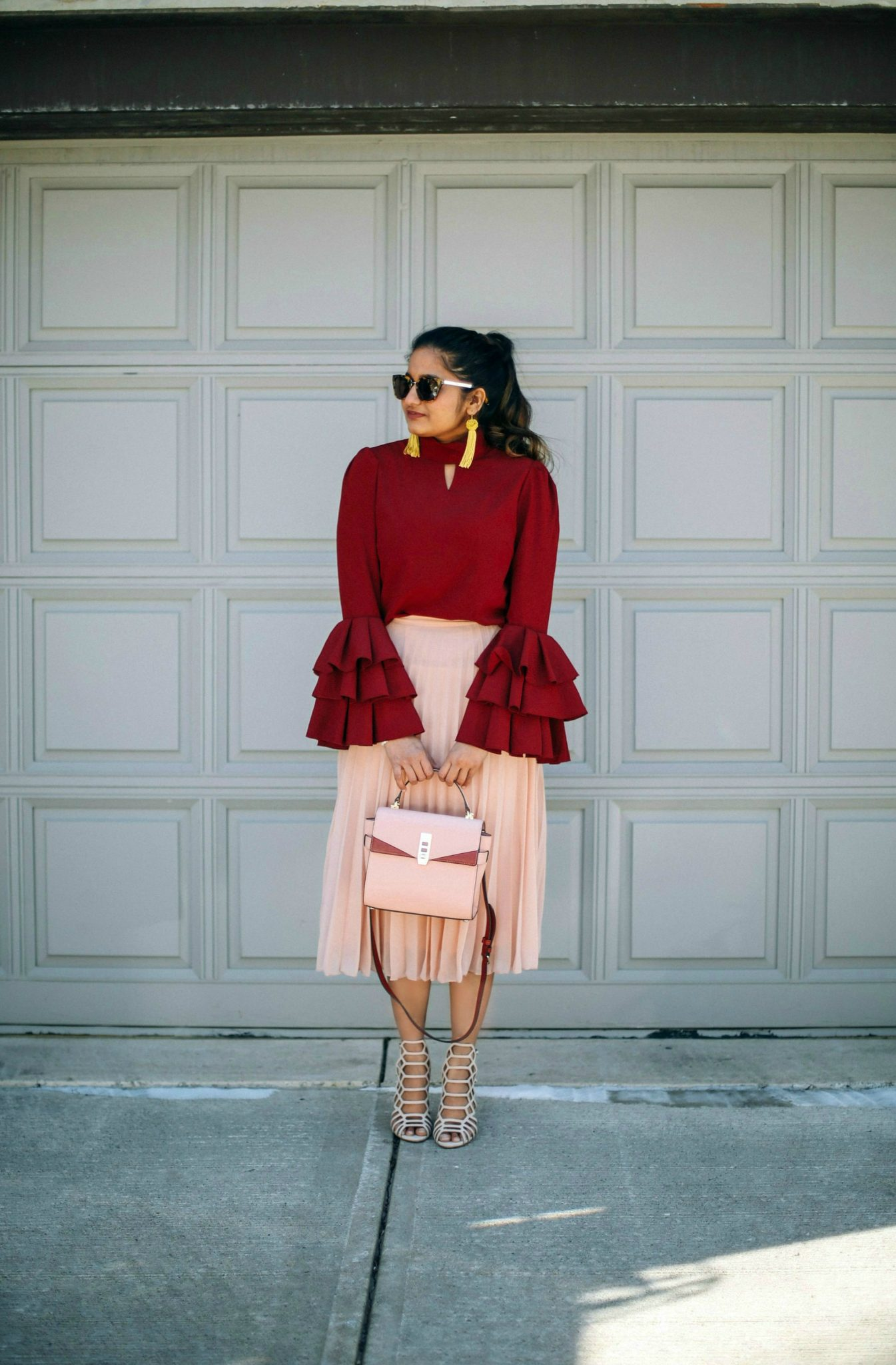 Lifestyle Blogger Surekha of Dreaming Loud Wearing Keyhole High Neck Layered Bell Sleeve Blouse
