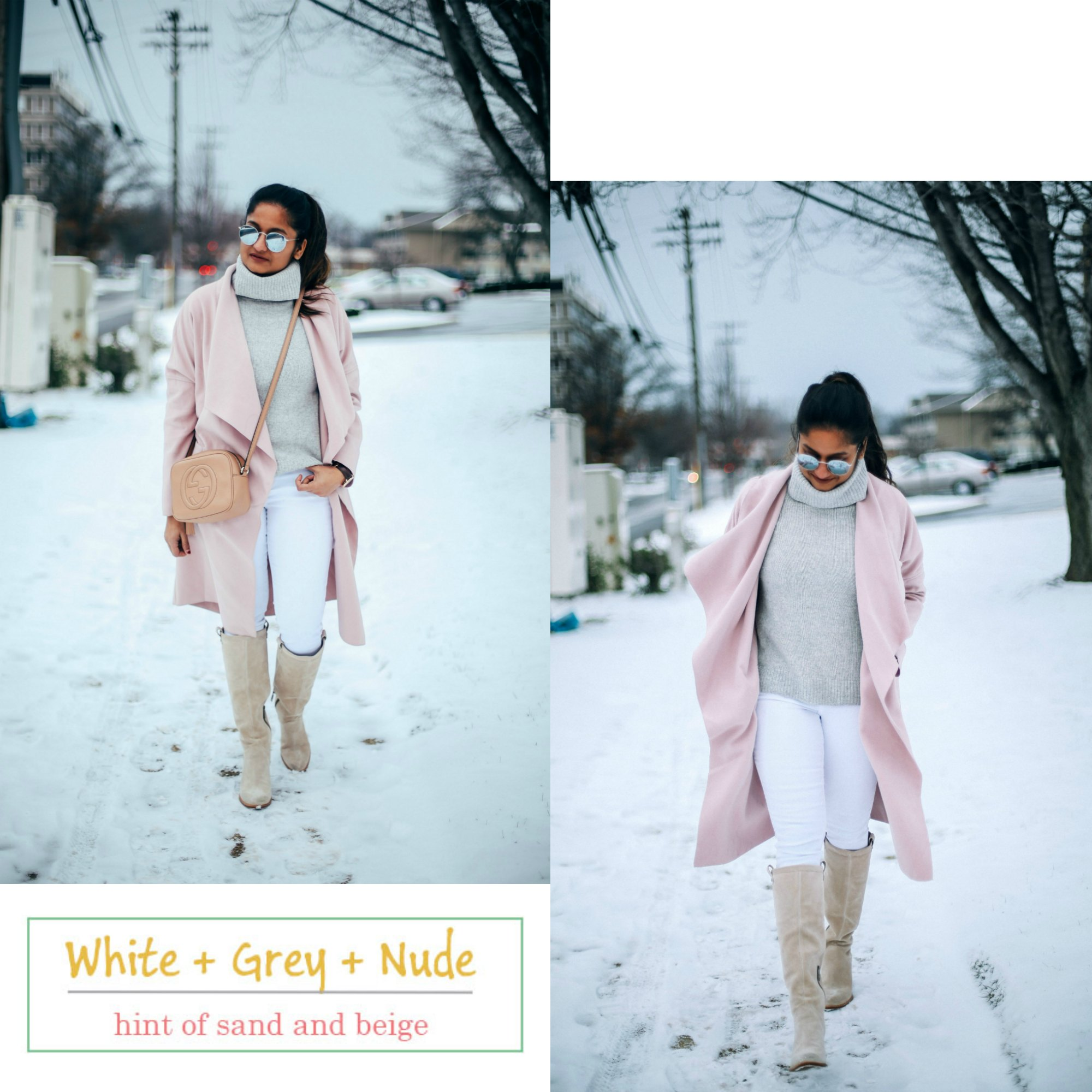 grey-pink-winter-neutral-combo - 6 Winter Neutral Color Combinations featured by popular Ohio modest fashion blogger, Dreaming Loud