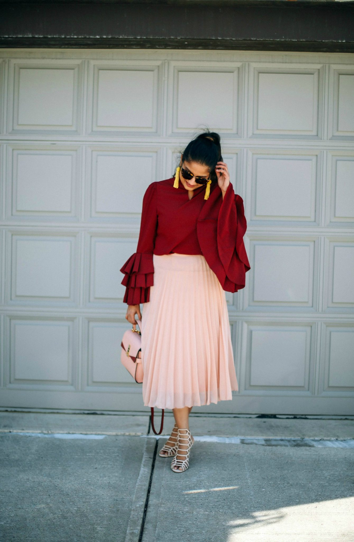 Lifestyle Blogger Surekha of Dreaming Loud Wearing Pink and burgundy combination outfit