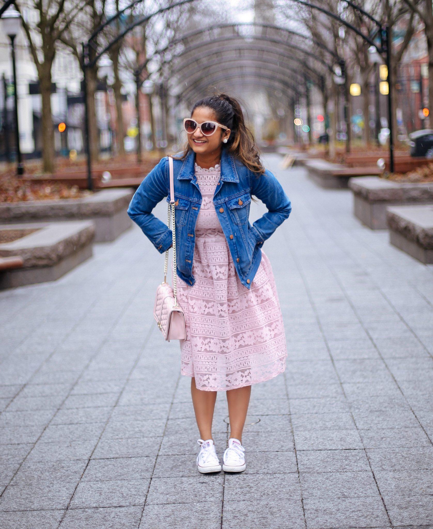 lifestyle blog dreaming loud wearing Crochet Openwork Lace High Waist Flare Dress