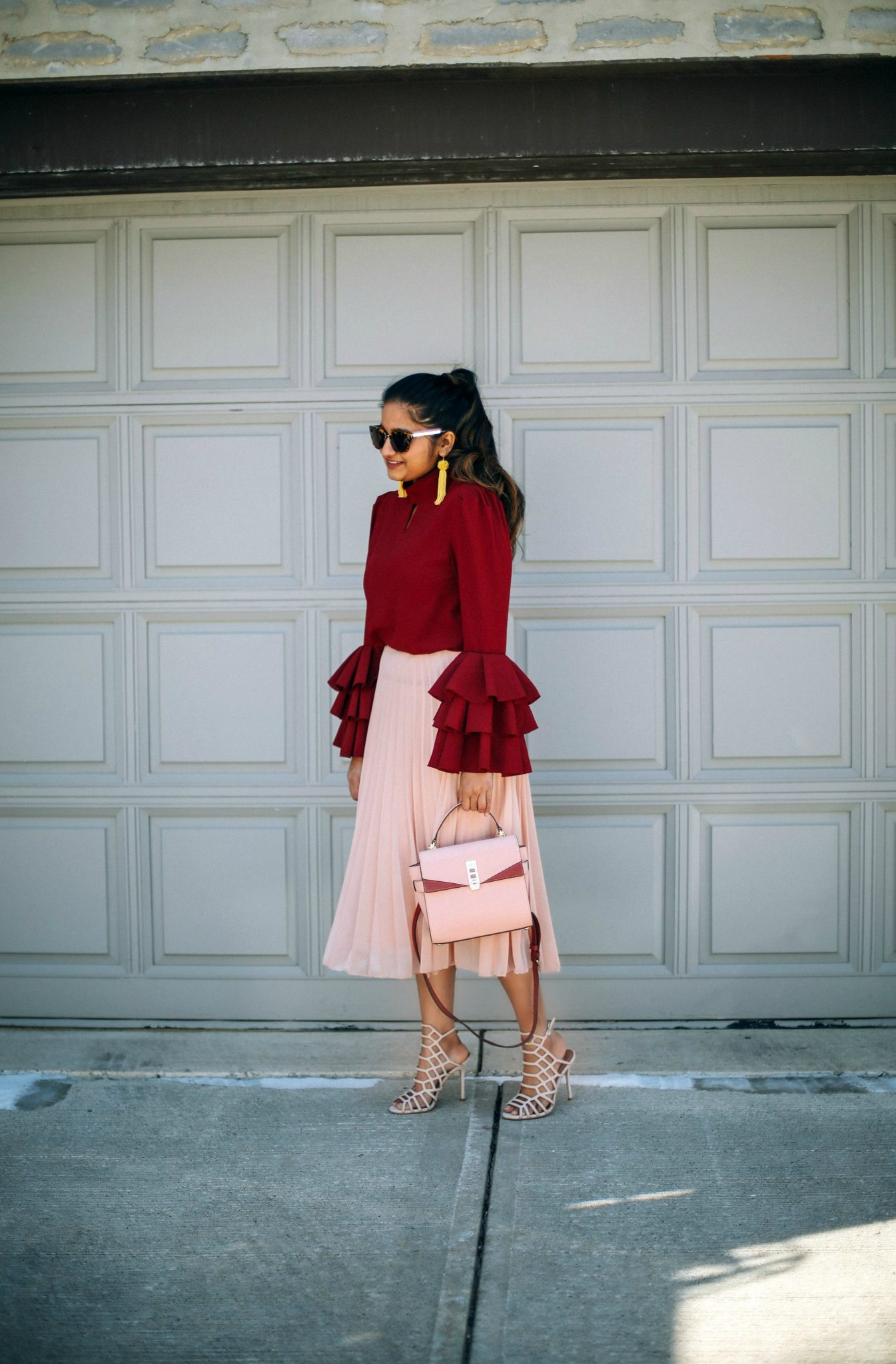 makemechic-KEYHOLE-LAYERED-BELL-SLEEVE-BLOUSE-burgundyLifestyle Blogger Surekha of Dreaming Loud Wearing Keyhole High Neck Layered Bell Sleeve Blouse