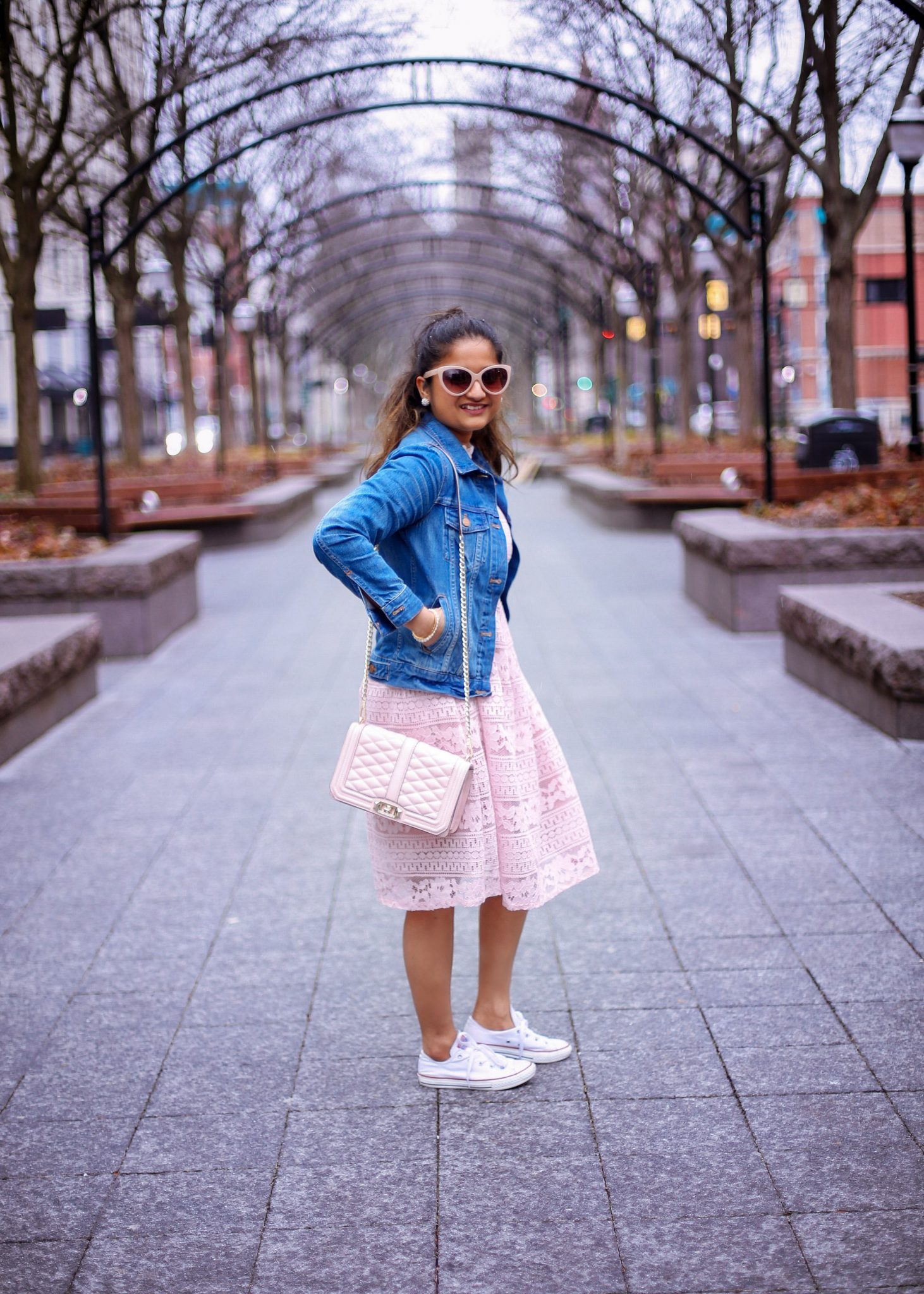 lifestyle blog dreaming loud wearing Rebecca Minkoff Love Embossed Cross body in pink