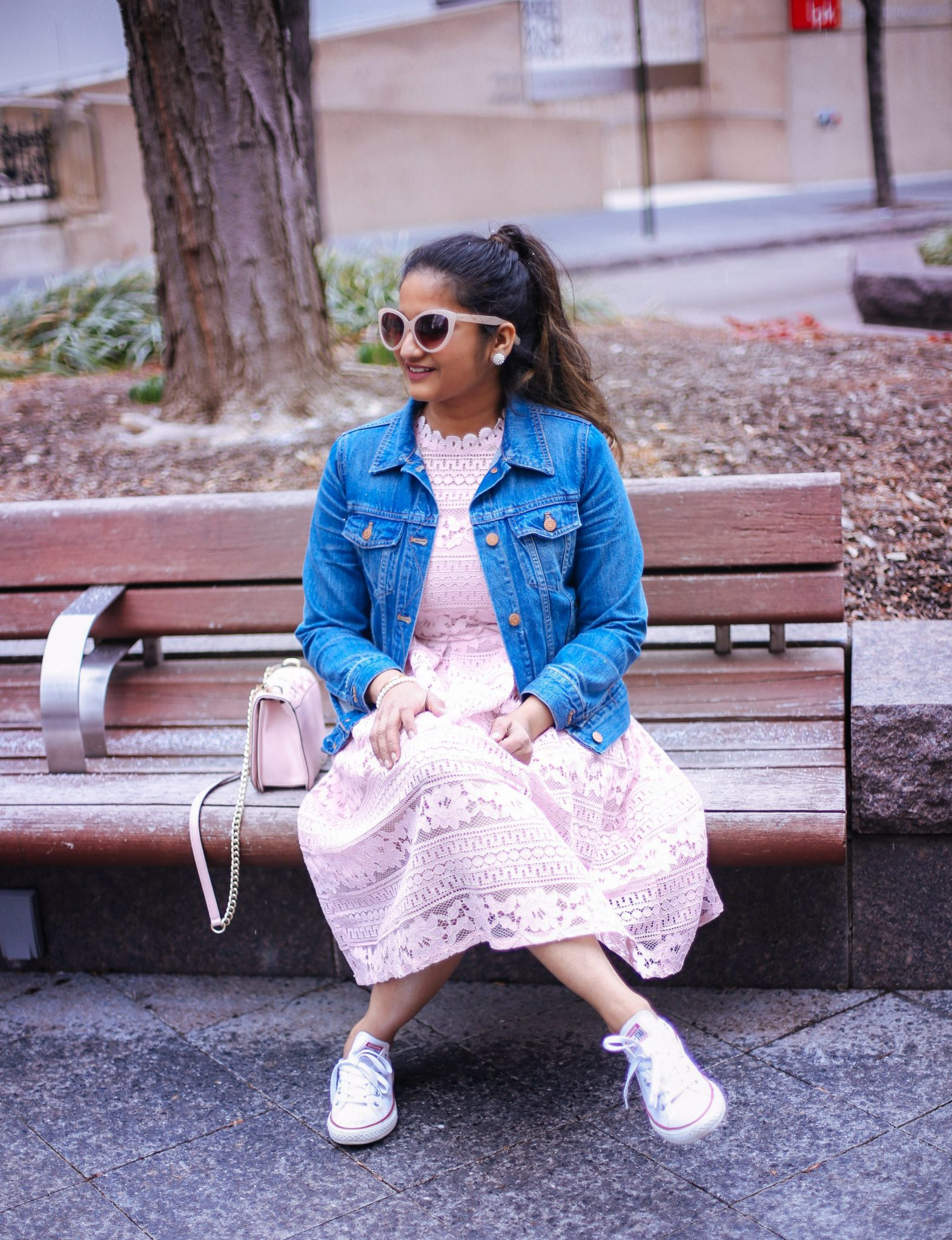 lifestyle blog dreaming loud wearing Converse chuck Taylor sneakers with lace dress