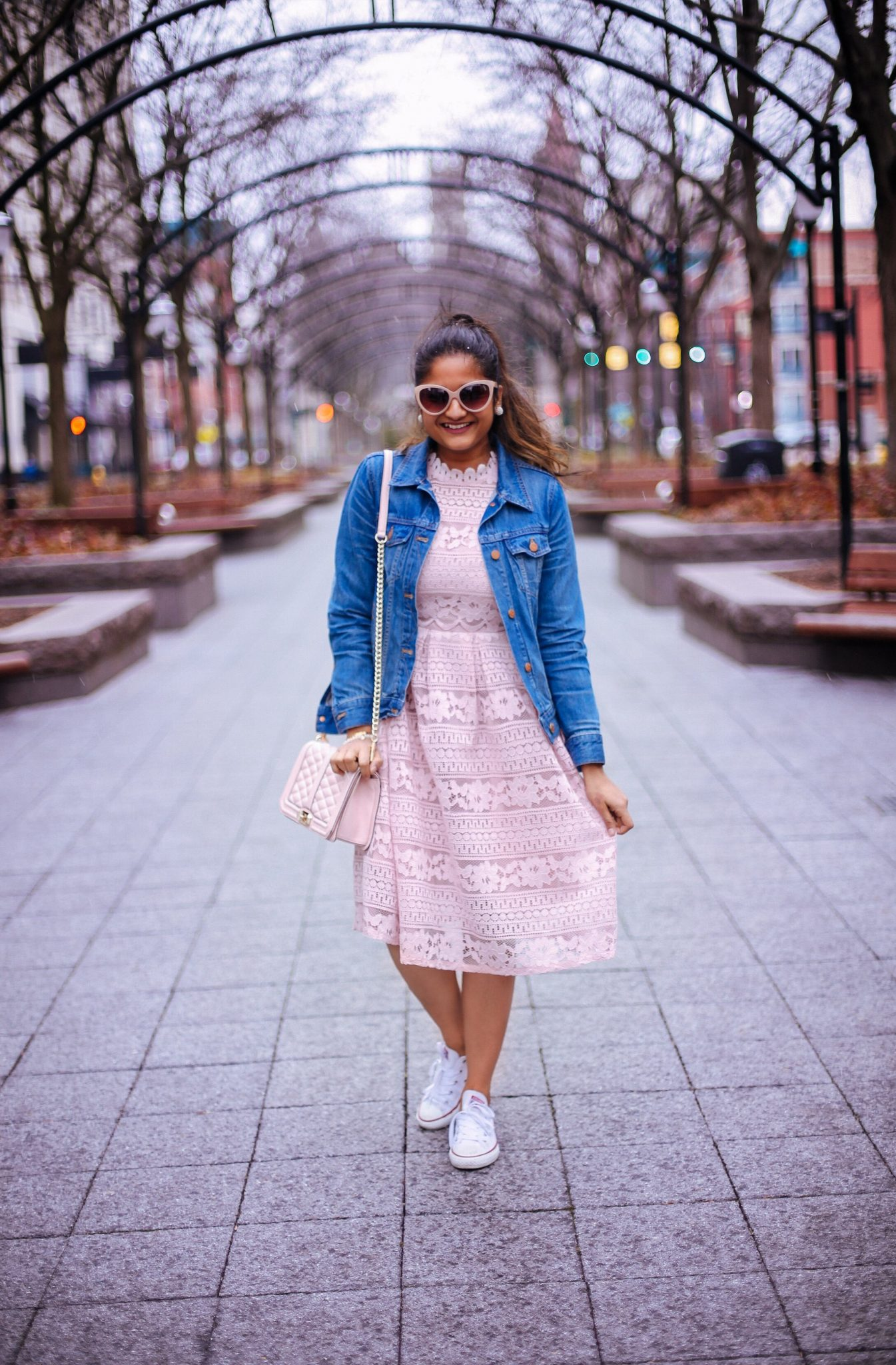lifestyle blog dreaming loud wearing Crochet Openwork Lace High Waist Flare Dress in pink