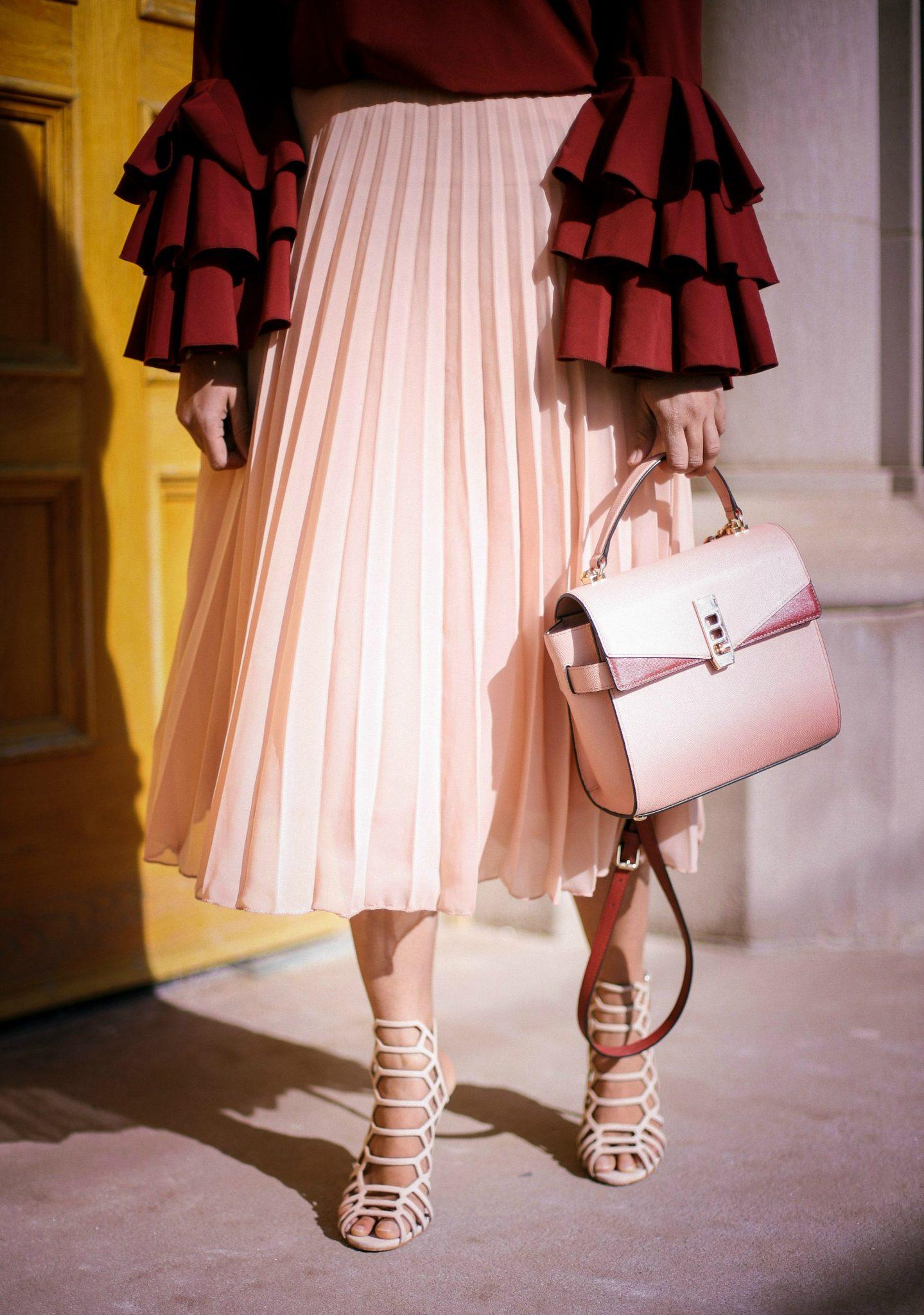 Lifestyle Blogger Surekha of Dreaming Loud Wearing Henri Bendel top handle satchel