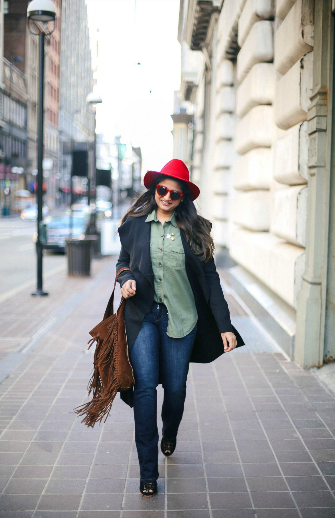 ralph-lauren-fringed-suede-sling-bag - How To Wear Khaki featured by popular modest fashion blogger, Dreaming Loud