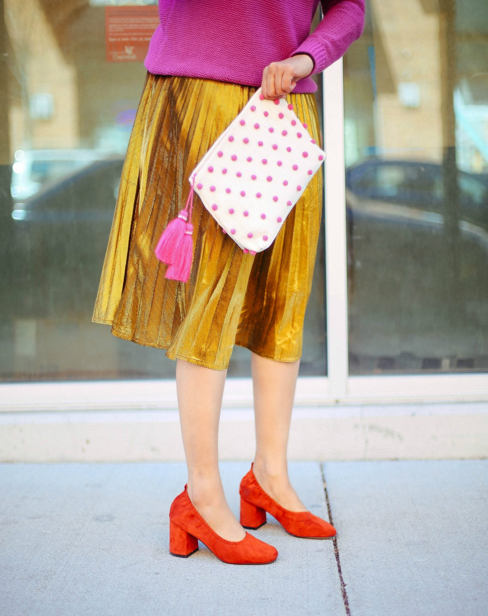 How to dress up gold pleated midi skirt - SheIn Gold Pleated Midi Skirt styled by popular Ohio modest fashion blogger, Dreaming Loud