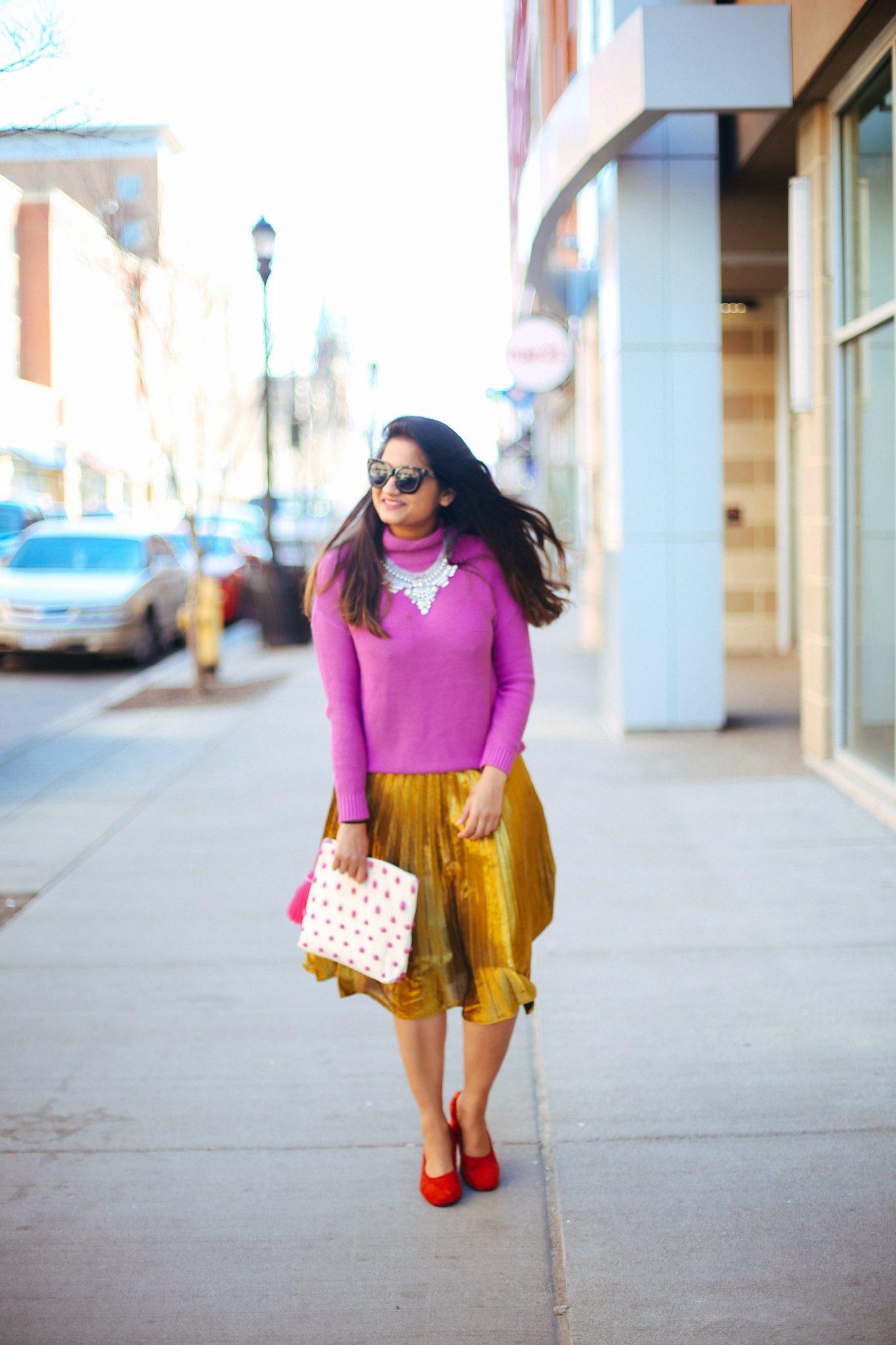 Quay-Australia-KITTI-FASHION-SUNGLASSES-How to dress up gold pleated midi skirt - SheIn Gold Pleated Midi Skirt styled by popular Ohio modest fashion blogger, Dreaming Loud